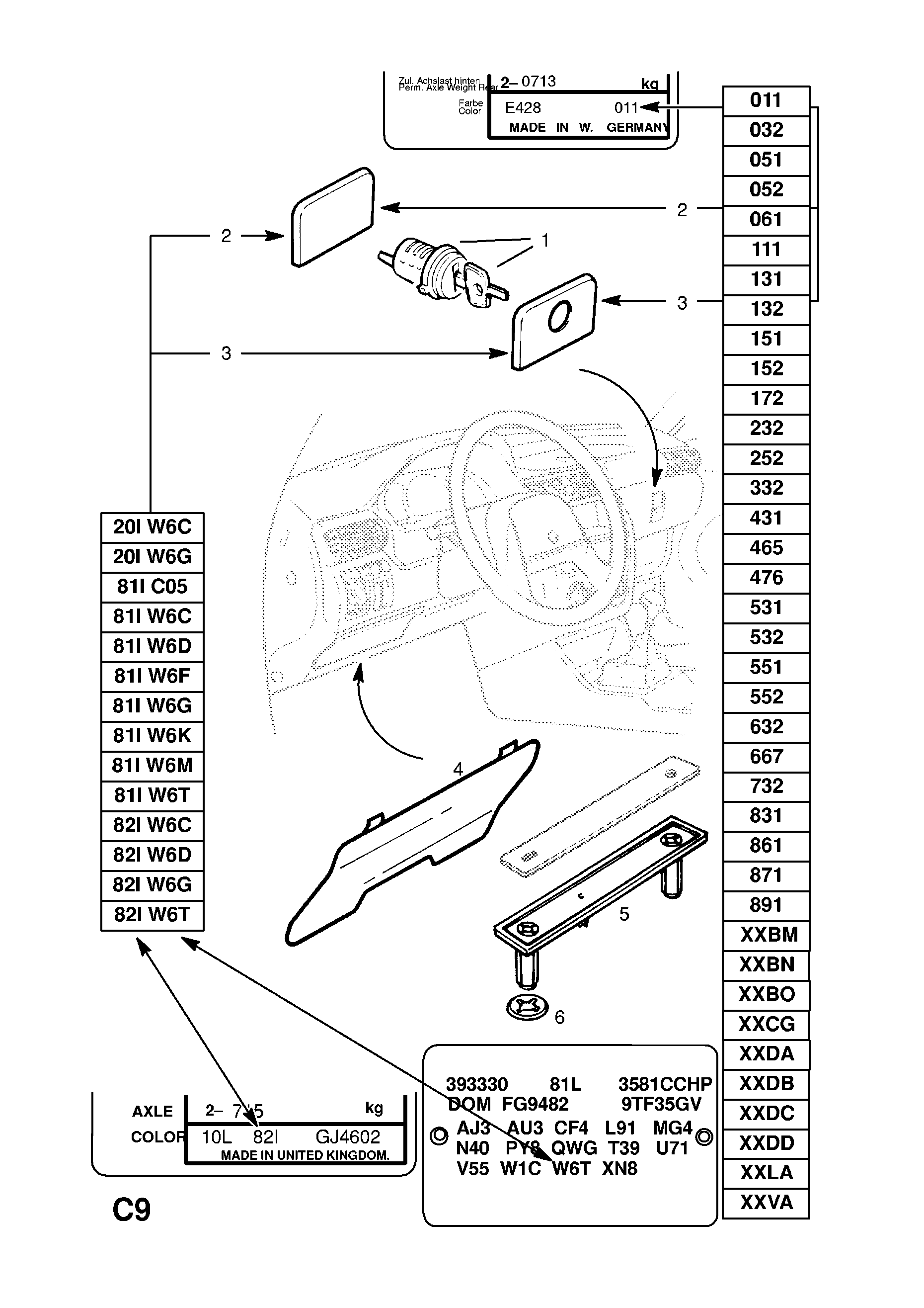 Opel Astra F 1992 1998 C Body Interior Fittings 3 Instrument Vauxhall Fuse Box Layout List Of Parts