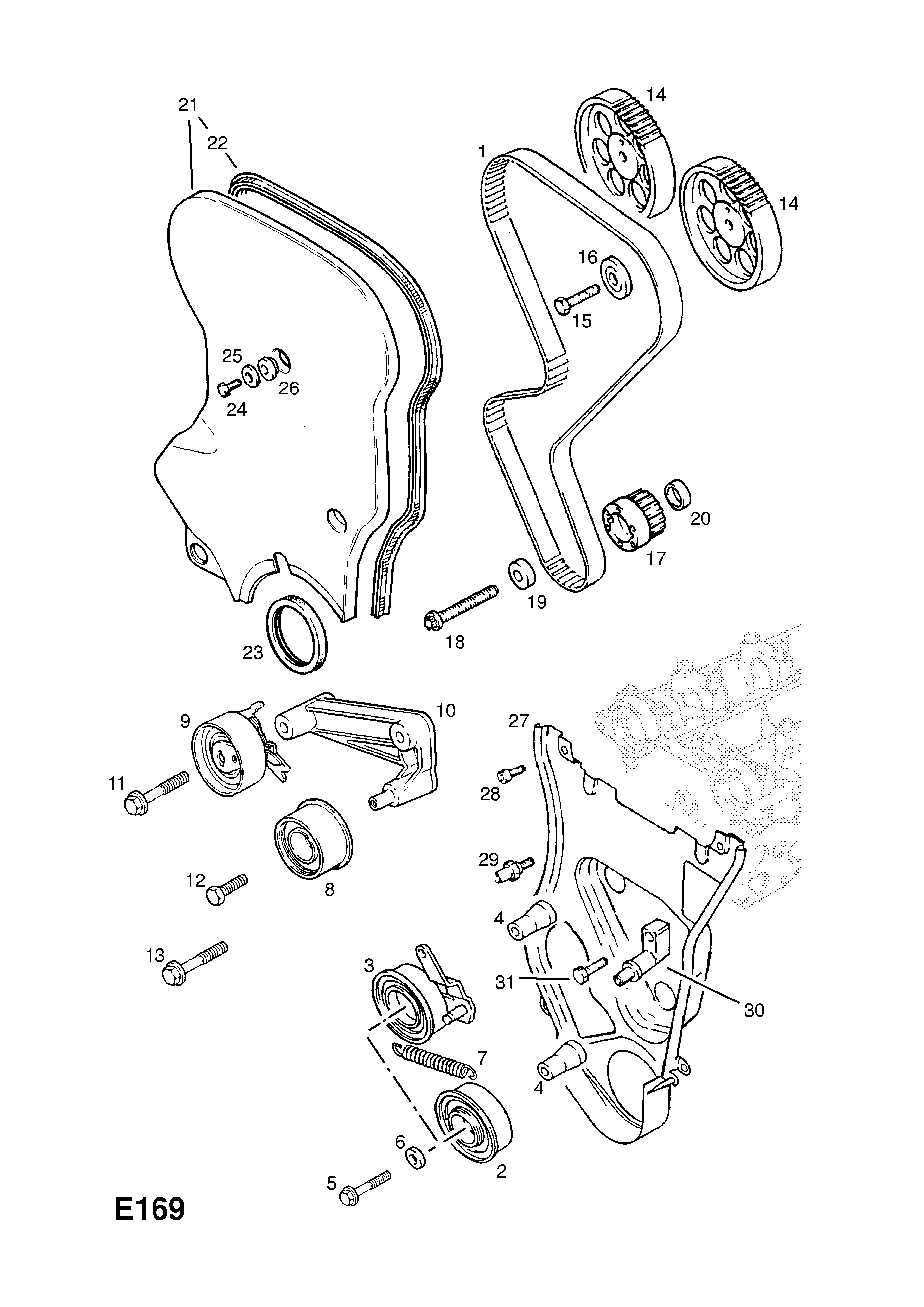Vauxhall Astra F 1992 1998 E Engine And Clutch 13 C20xelj1 Opel Timing Belt Gm Part Number Genuine Description Range