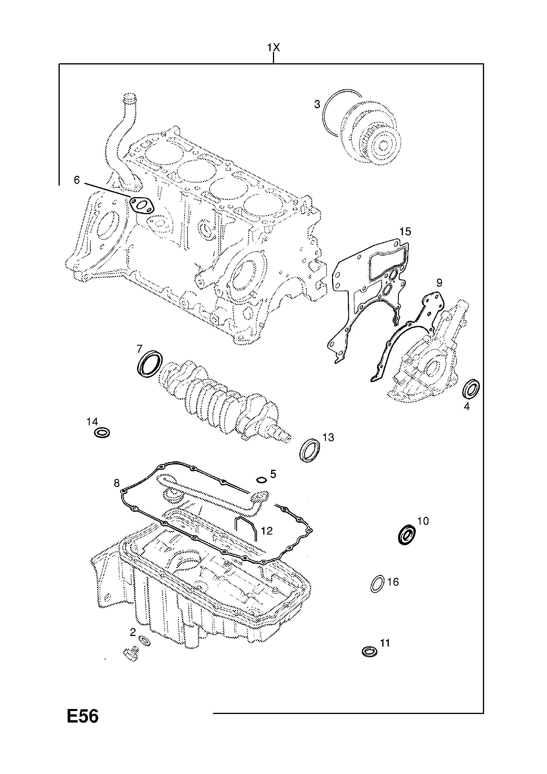 opel zafira a 1998 2010 e engine and clutch 7 x16xel l91 Fiat Stilo Fuse Box list of parts