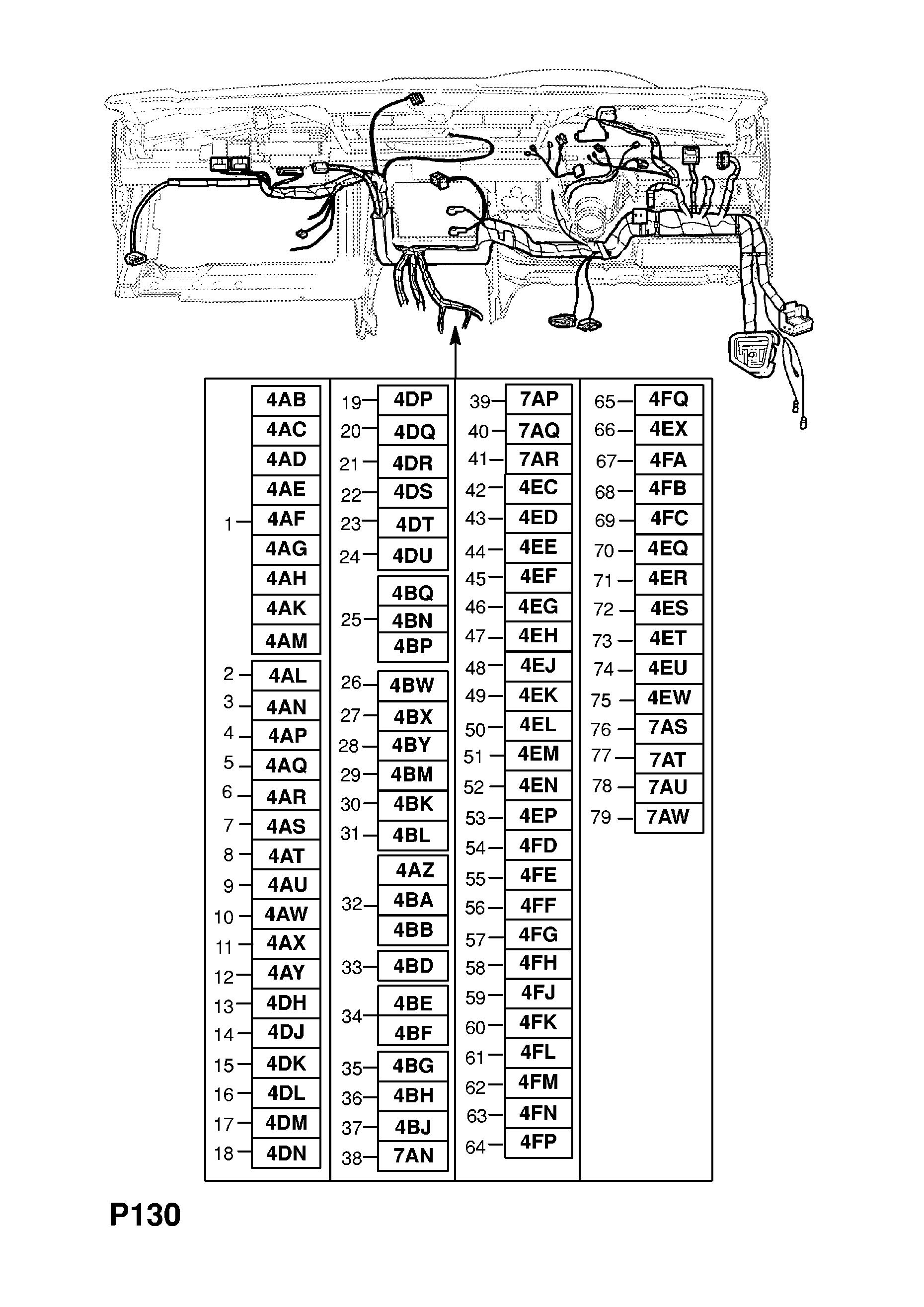 №, gm-part number, genuine part number, description, range  instrument  panel wiring harness