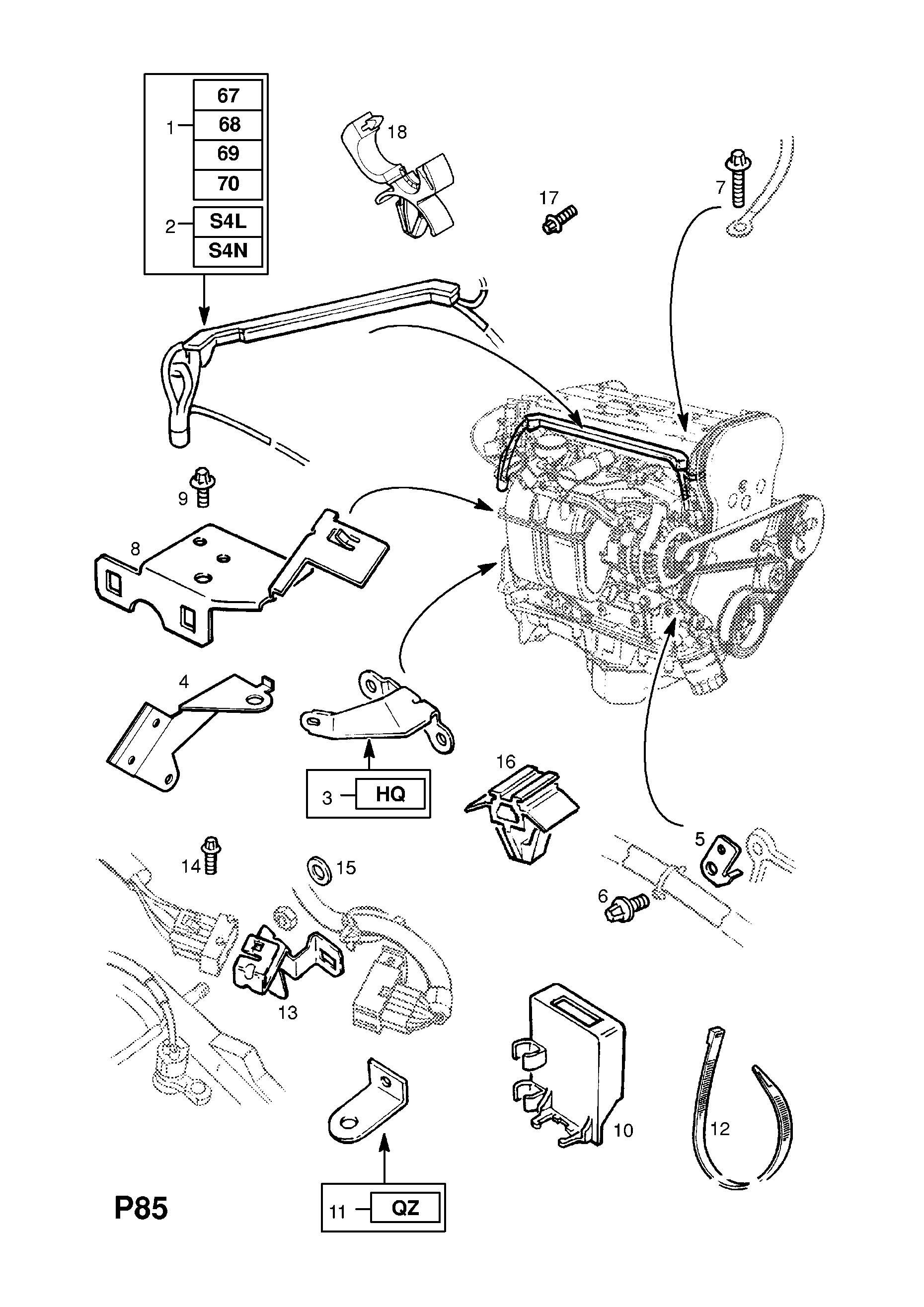 Vauxhall Astra G 1998 2010 P Electrical 9 Wiring Harness 176 Hq Alternator Diagram List Of Parts