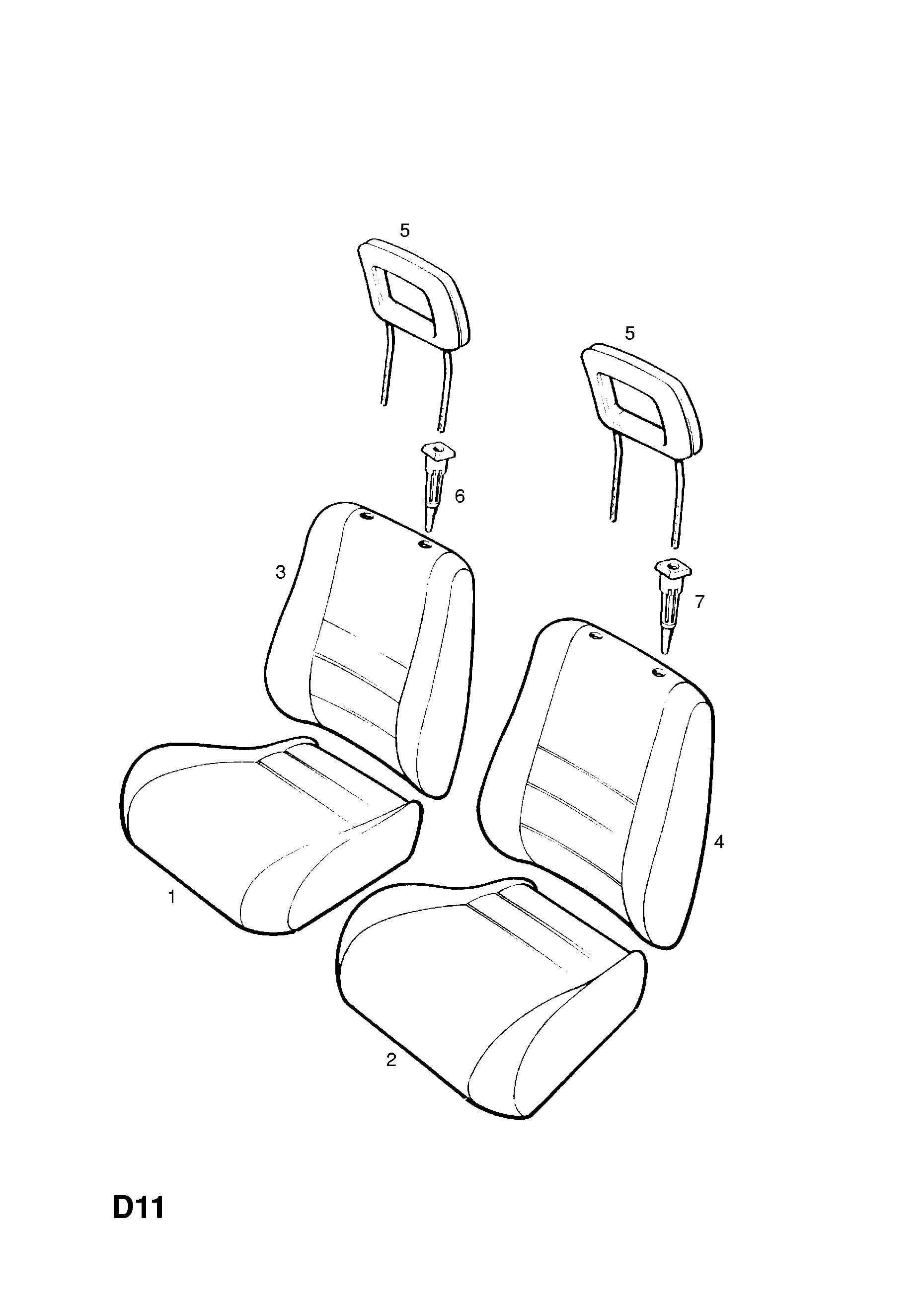 opel c o 1997 2002 d body interior trim 8 front bucket seat S10 Split Bench Seat list of parts
