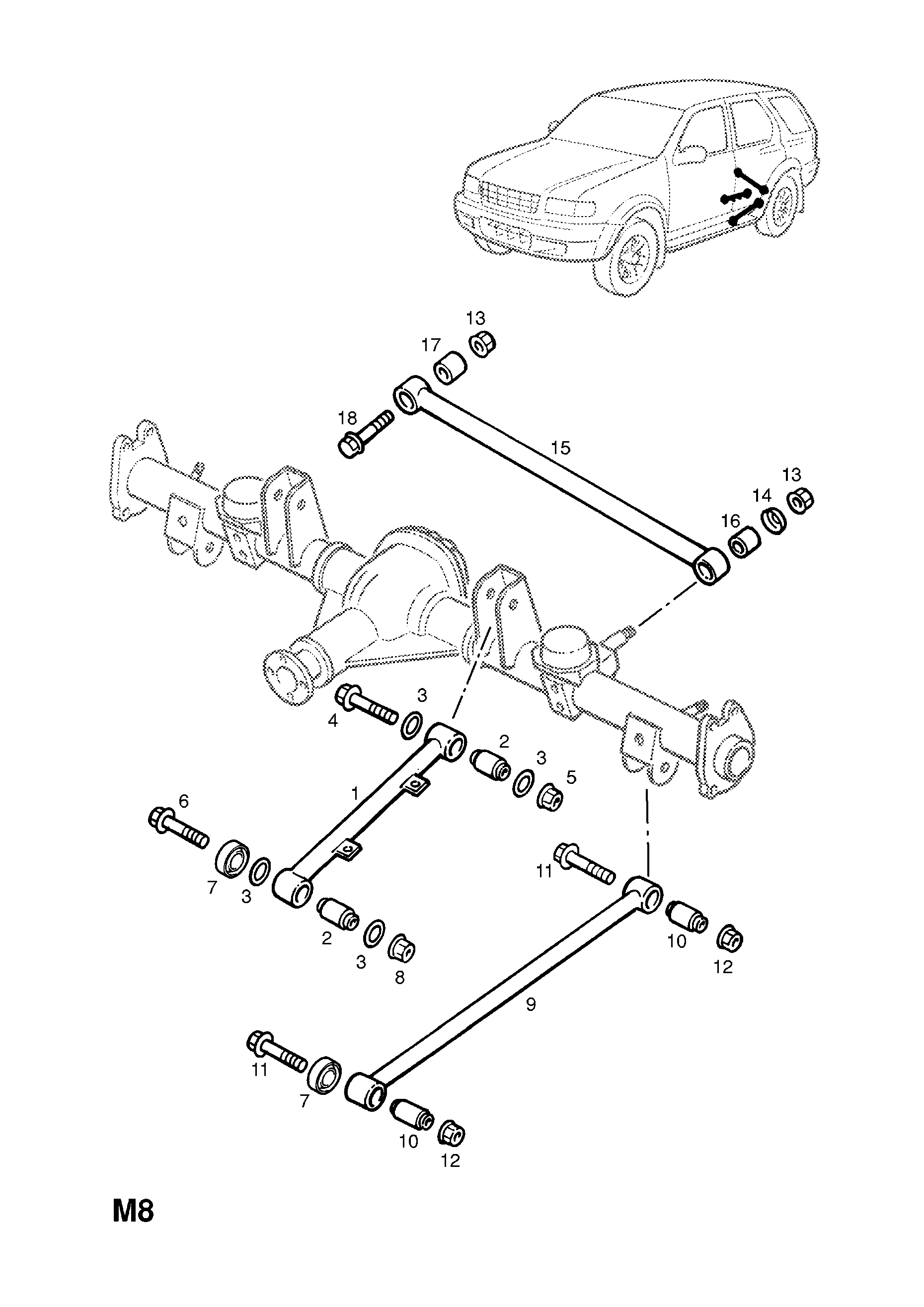 Opel Frontera B 1999 2004 M Rear Axle And Suspension 3 Wiring Diagram List Of Parts