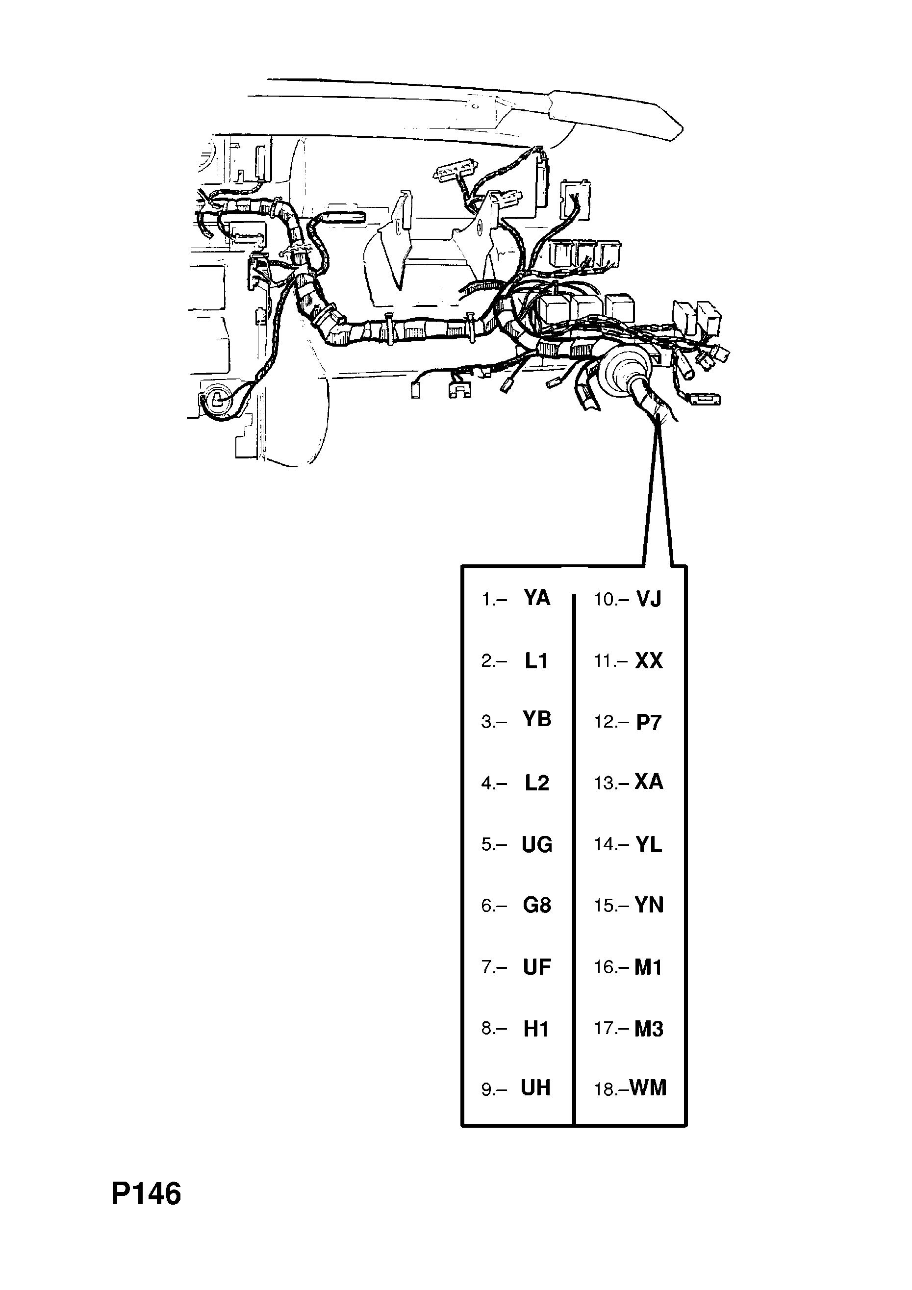 Opel Omega A 1987 1993 P Electrical 10 Wiring Harness 70 Diagram List Of Parts