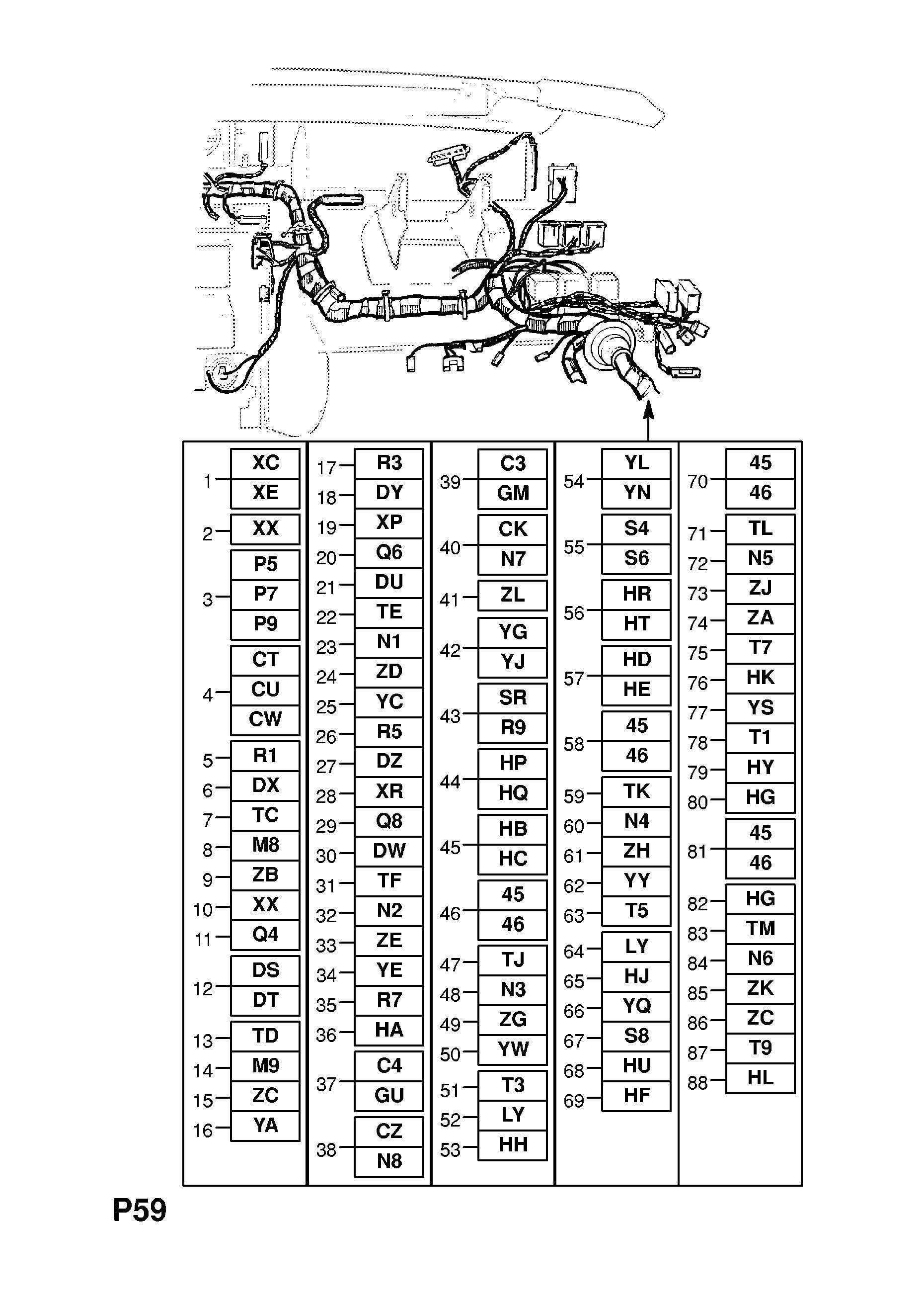 Opel Senator B 1988 1994 P Electrical 10 Wiring Harness 47 Zc Gm Part Number Genuine Description Range Instrument Panel