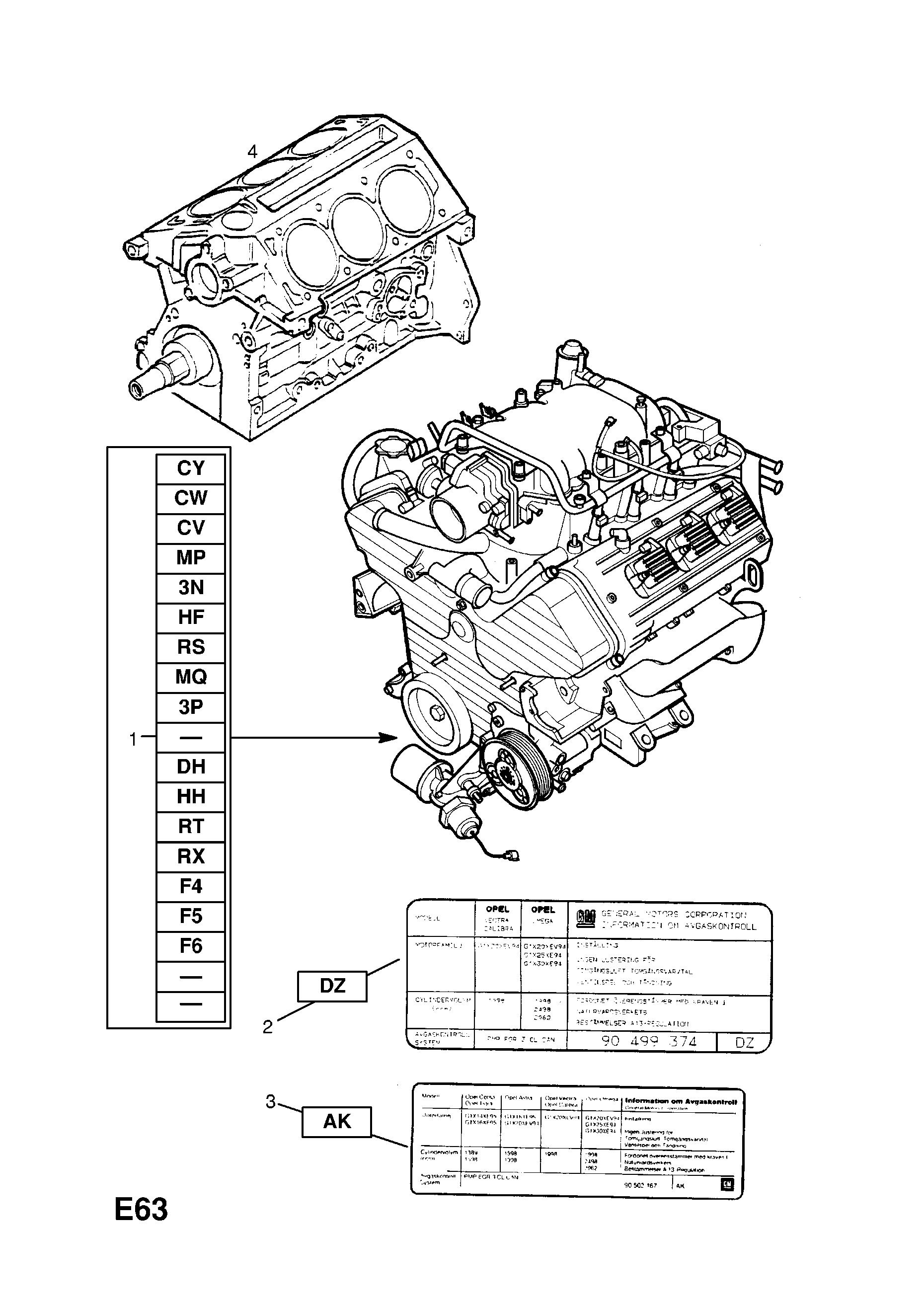 [DIAGRAM_0HG]  Opel OMEGA-B ( 1994 - 2003), E ENGINE AND CLUTCH, 5 X30XE[L81],Y32SE[LA3]  PETROL ENGINES, 50.ENGINE LABELS - Catcar.info | L81 Engine Diagram |  | CATCAR.INFO