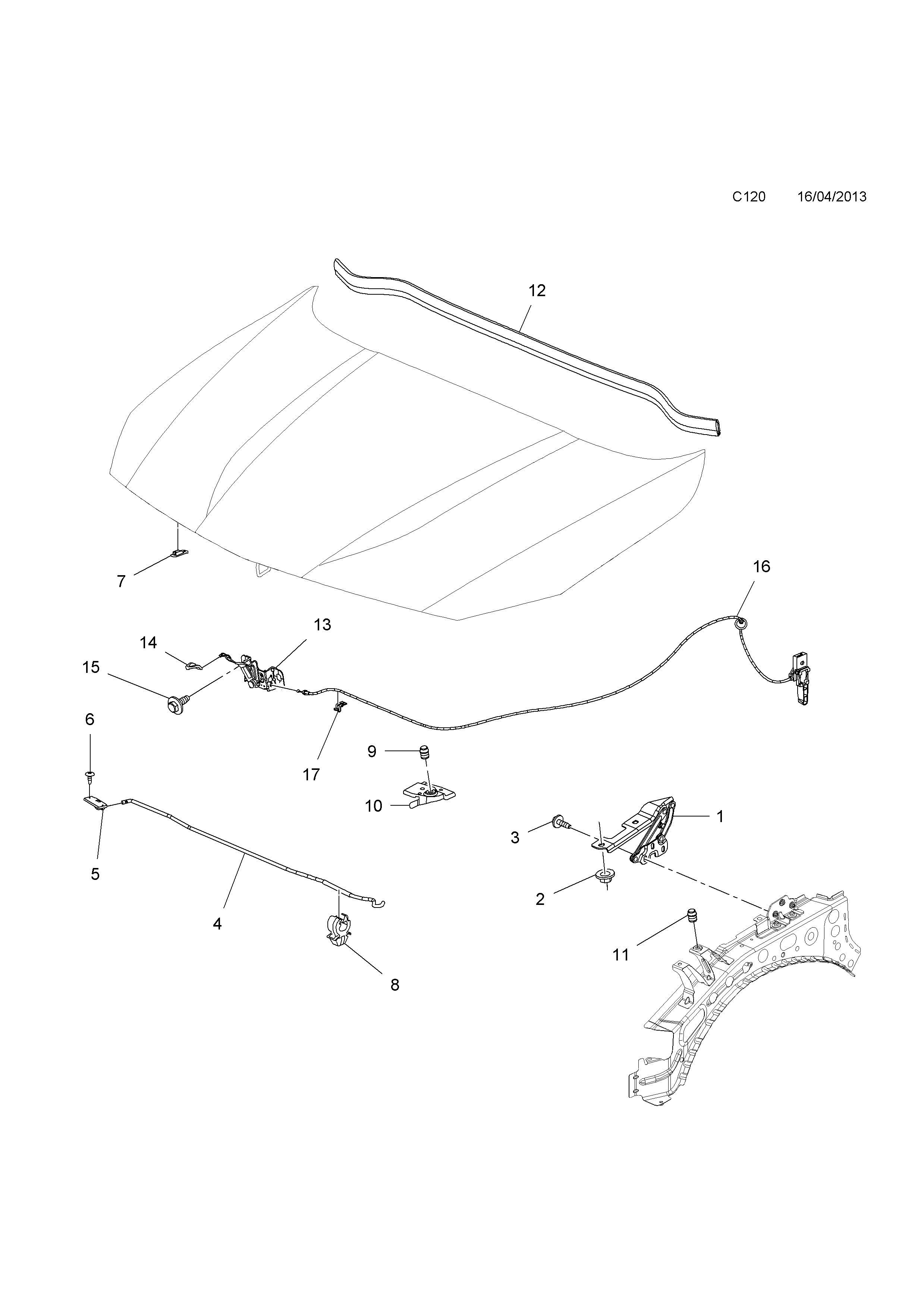 Opel cascada 2013 c body interior fittings 9 bonnet list of parts sciox Image collections