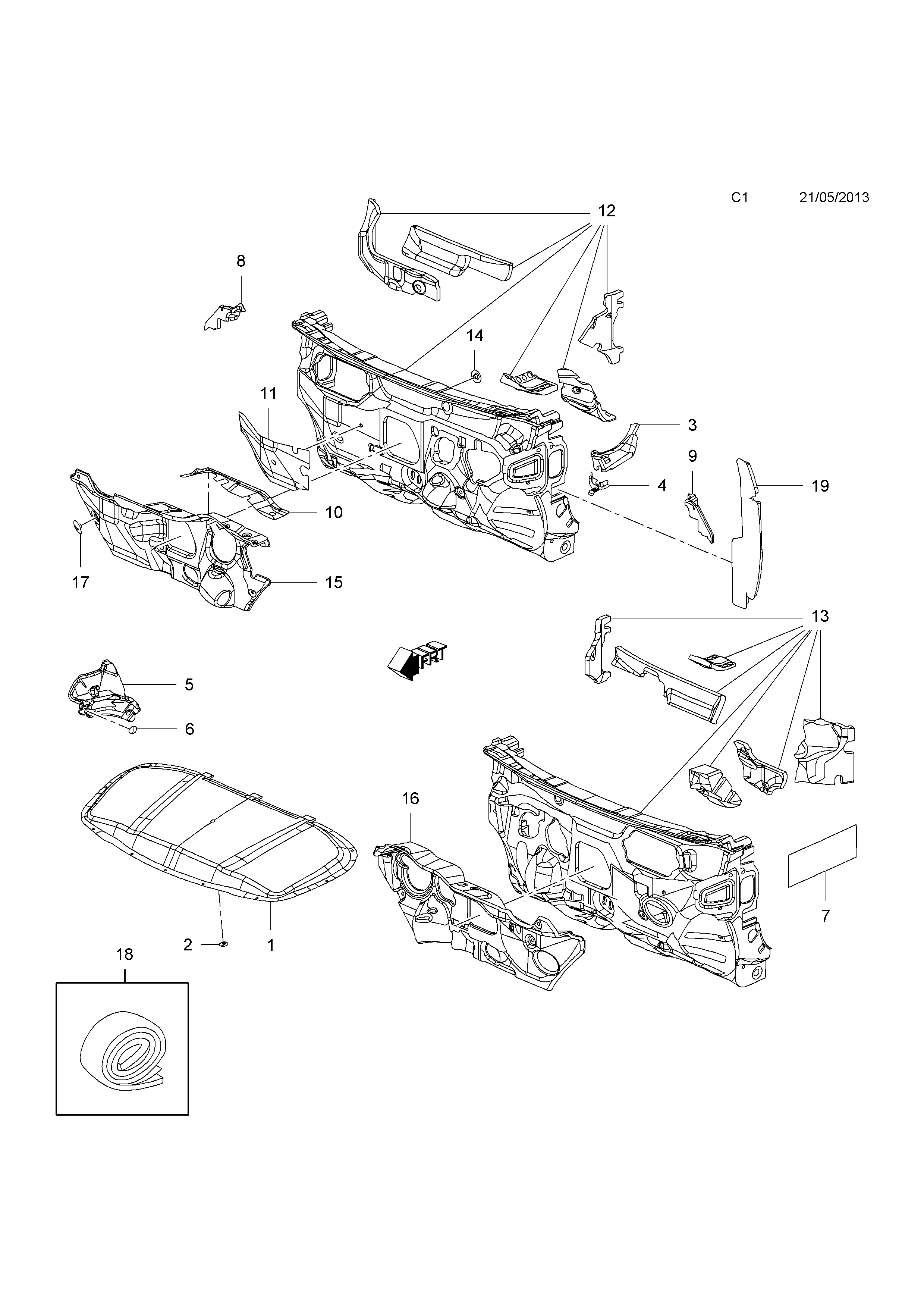 Opel cascada 2013 c body interior fittings 1 insulators 1 list of parts sciox Image collections