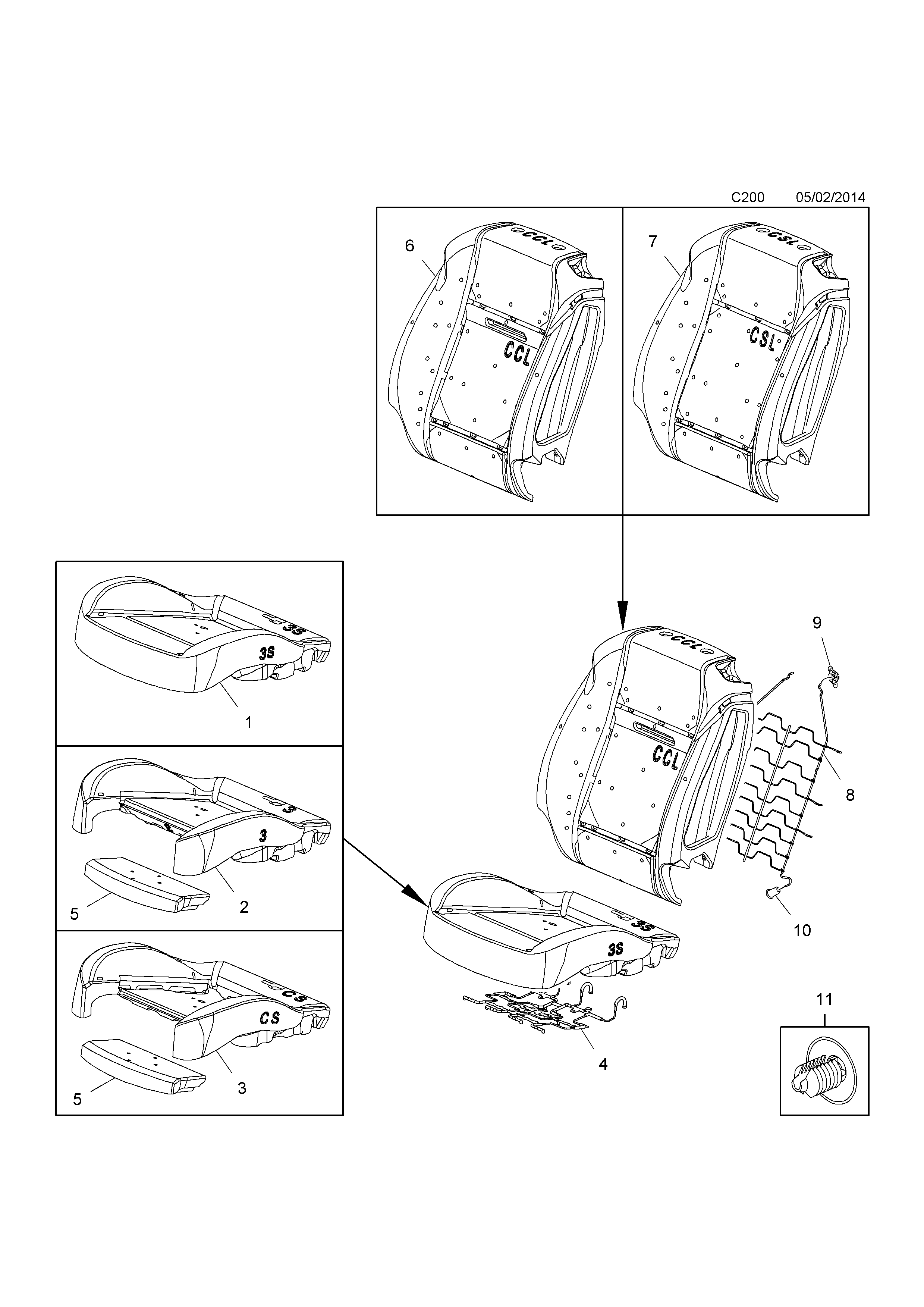 Opel cascada 2013 c body interior fittings 15 front seat list of parts sciox Image collections