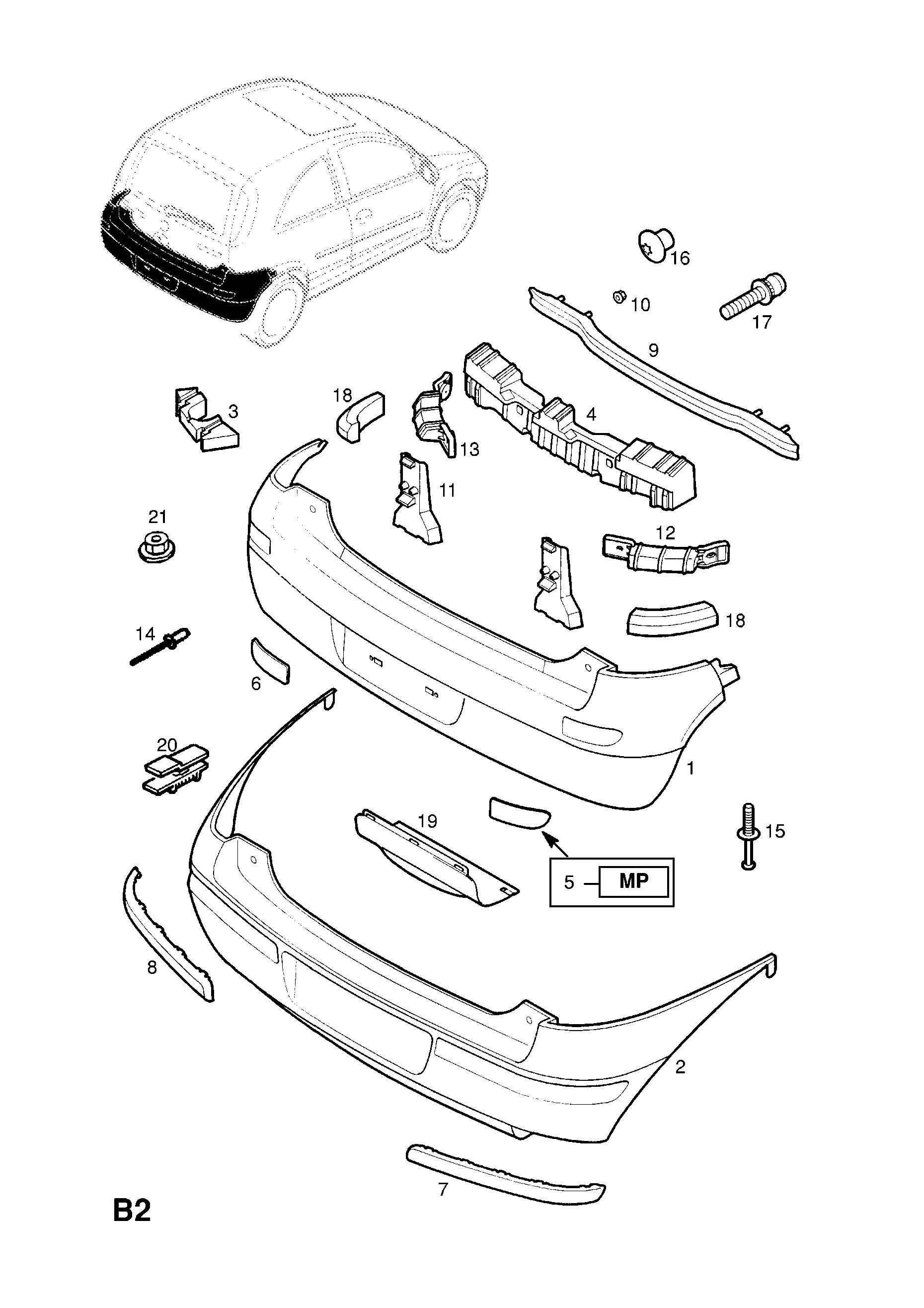 Vauxhall CORSA-C ( 2001 - ), B BODY EXTERIOR FITTINGS, 1