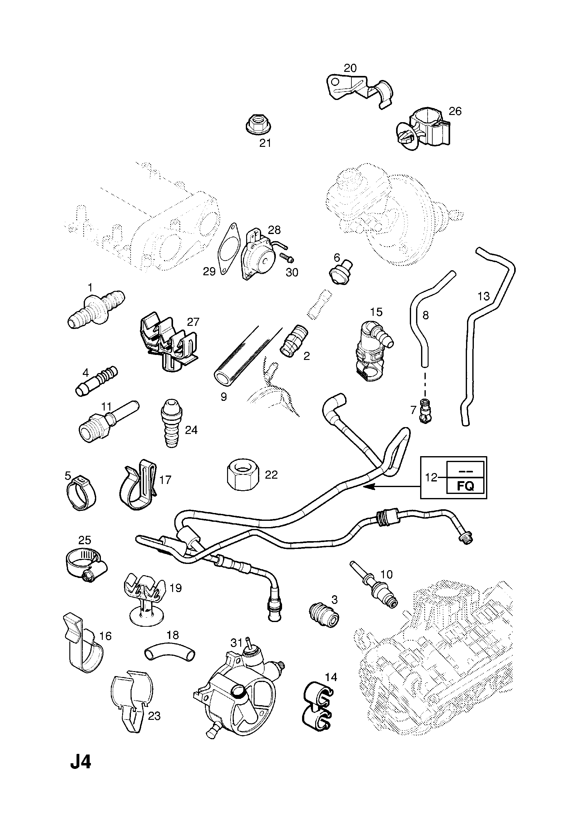 Opel Corsa C 2001 J Brakes 64vacuum Pump Vacuum Diagram List Of Parts