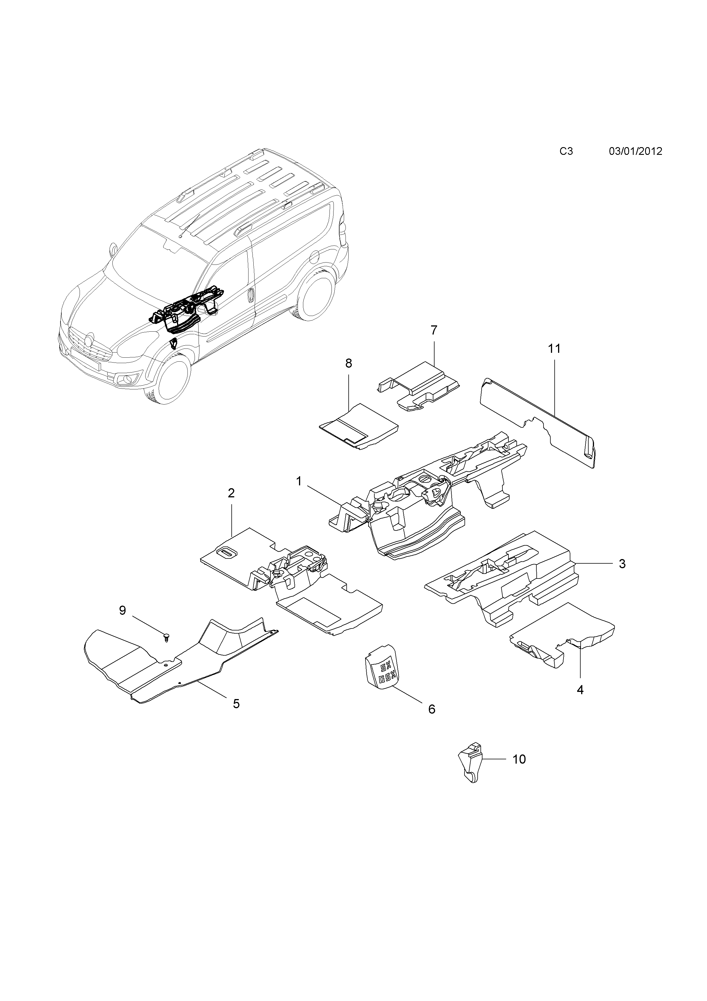 opel bo d 2012 c body interior fittings 1 insulators 4 Light Switch Home Wiring Diagram list of parts
