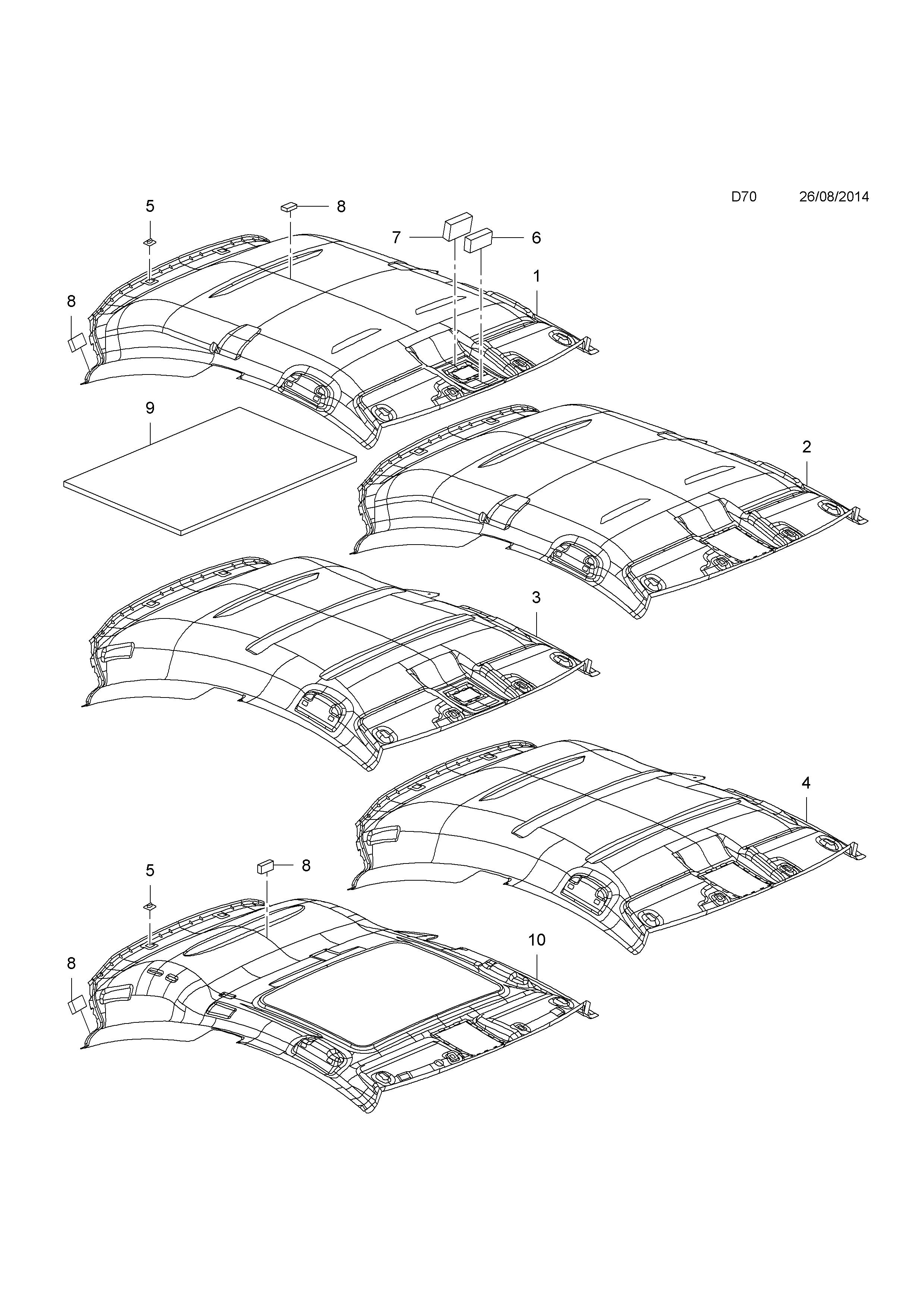 opel corsa e 2015 d body interior trim 5 roof trim 4 3 door 1973 Opel GT list of parts