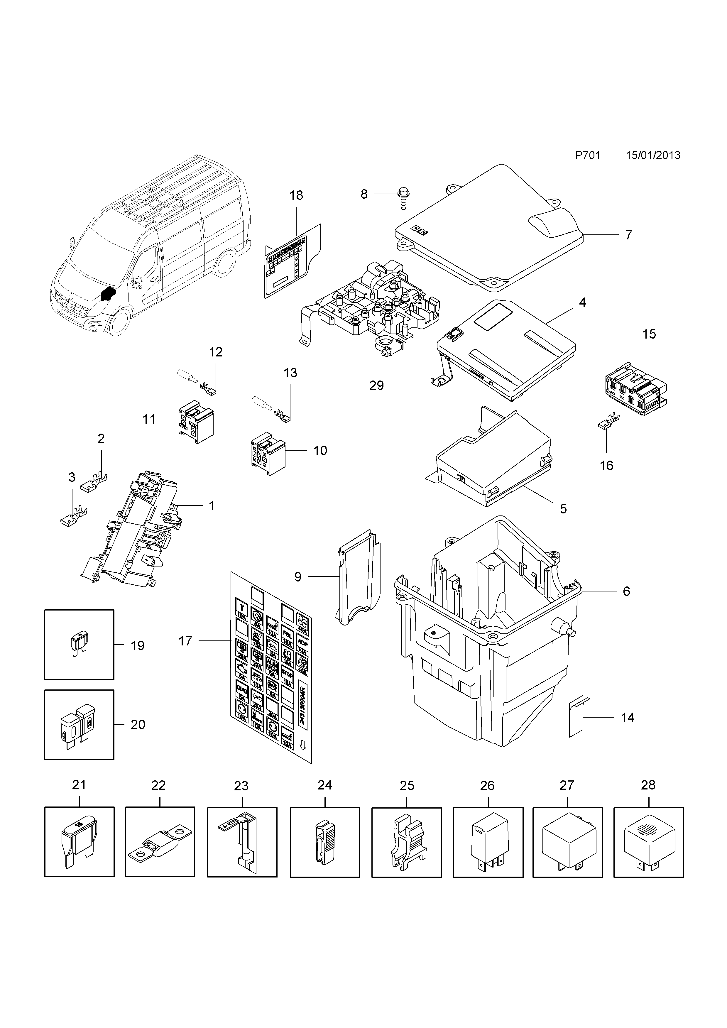 ... №, Gm-part number, Genuine part number, Description, Range. FUSE BOX.