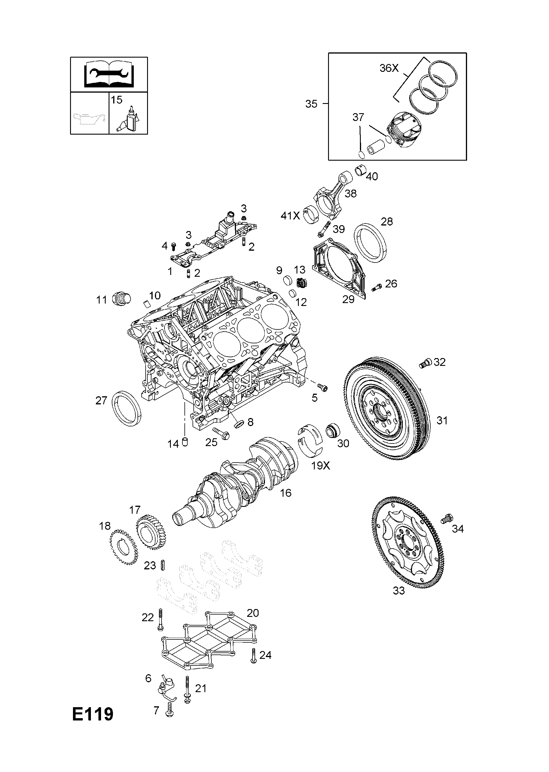 Opel Vectra C 2002 2008 E Engine And Clutch 15 Z30dtldh Cat 236 Diagram List Of Parts