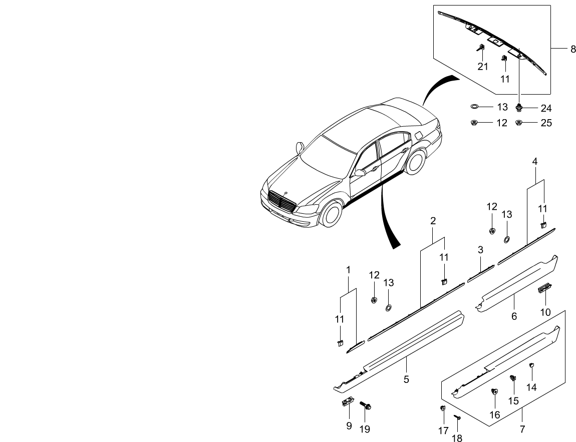 Chairman W Interior Exterior 7930 Side Rear Body Moulding Daewoo Korando Outside Mirror Schematic And Routing Diagram Code Part Number Name Production Date Qty Note Replacement History Image