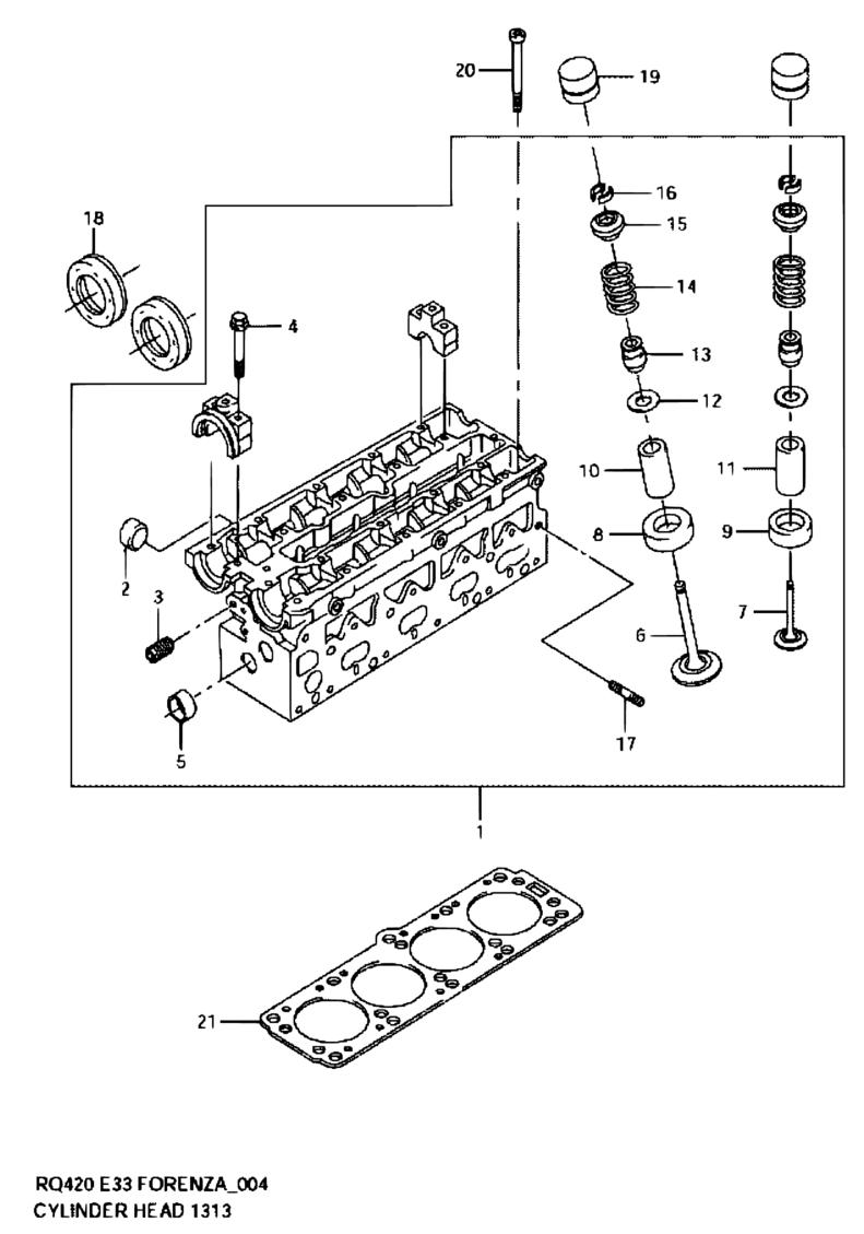 all regions, forenza / reno, rq420 (my 2006), engine, 4 - cylinder head -  catcar.info  catcar.info