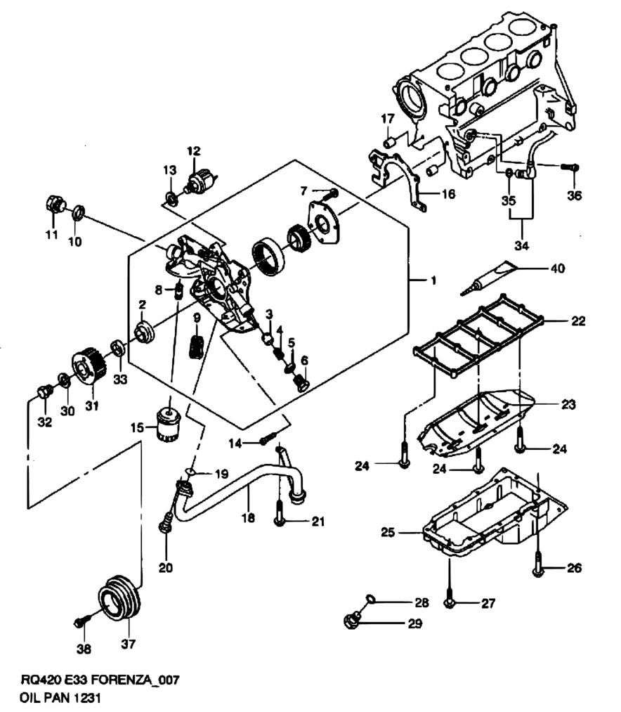 united states, forenza / reno, rq420 (my 2006), engine, 7 - oil pan/oil  pump - catcar.info  catcar.info