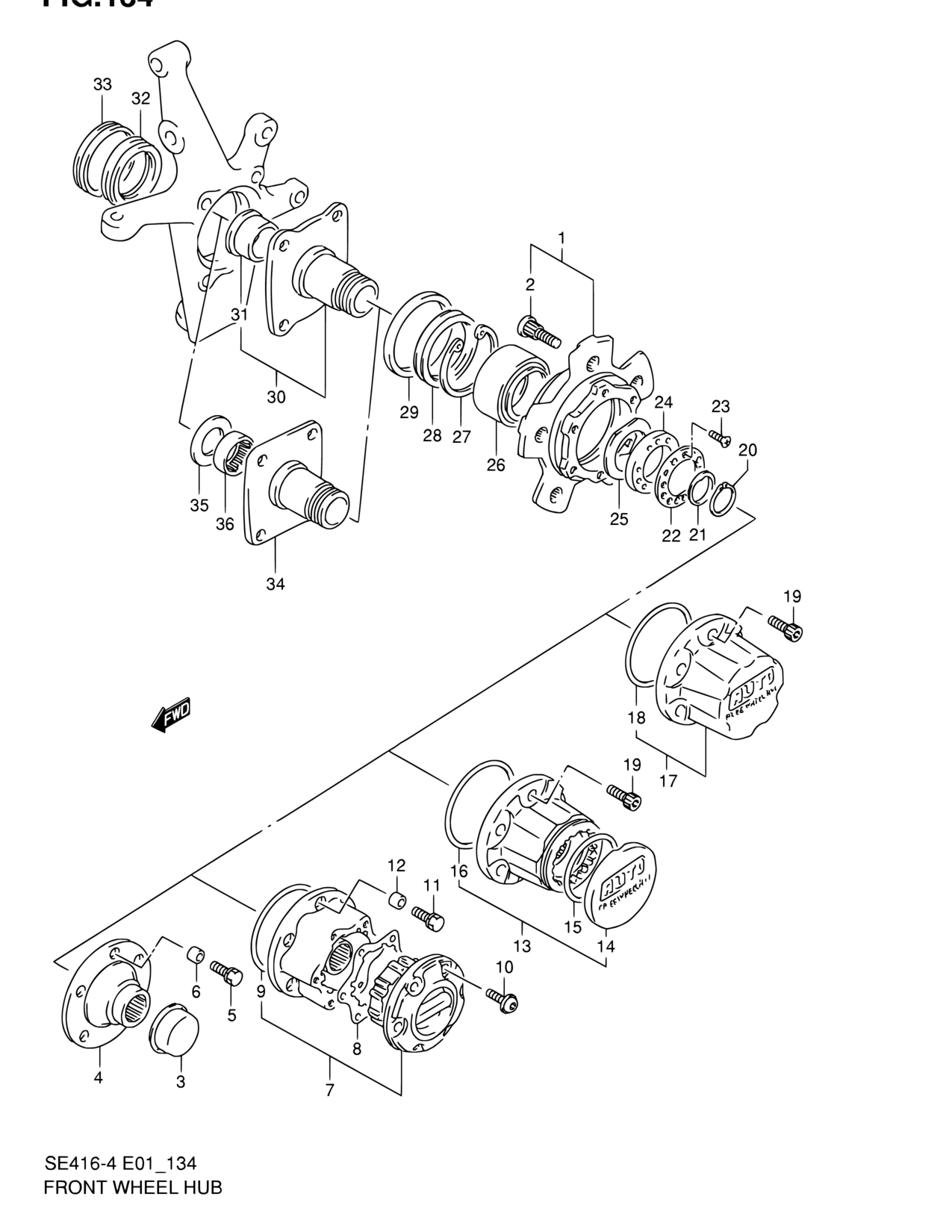 Asia Vitara Sidekick Se416 4 Suspension 134 Front Wheel Hub Diagram Notes