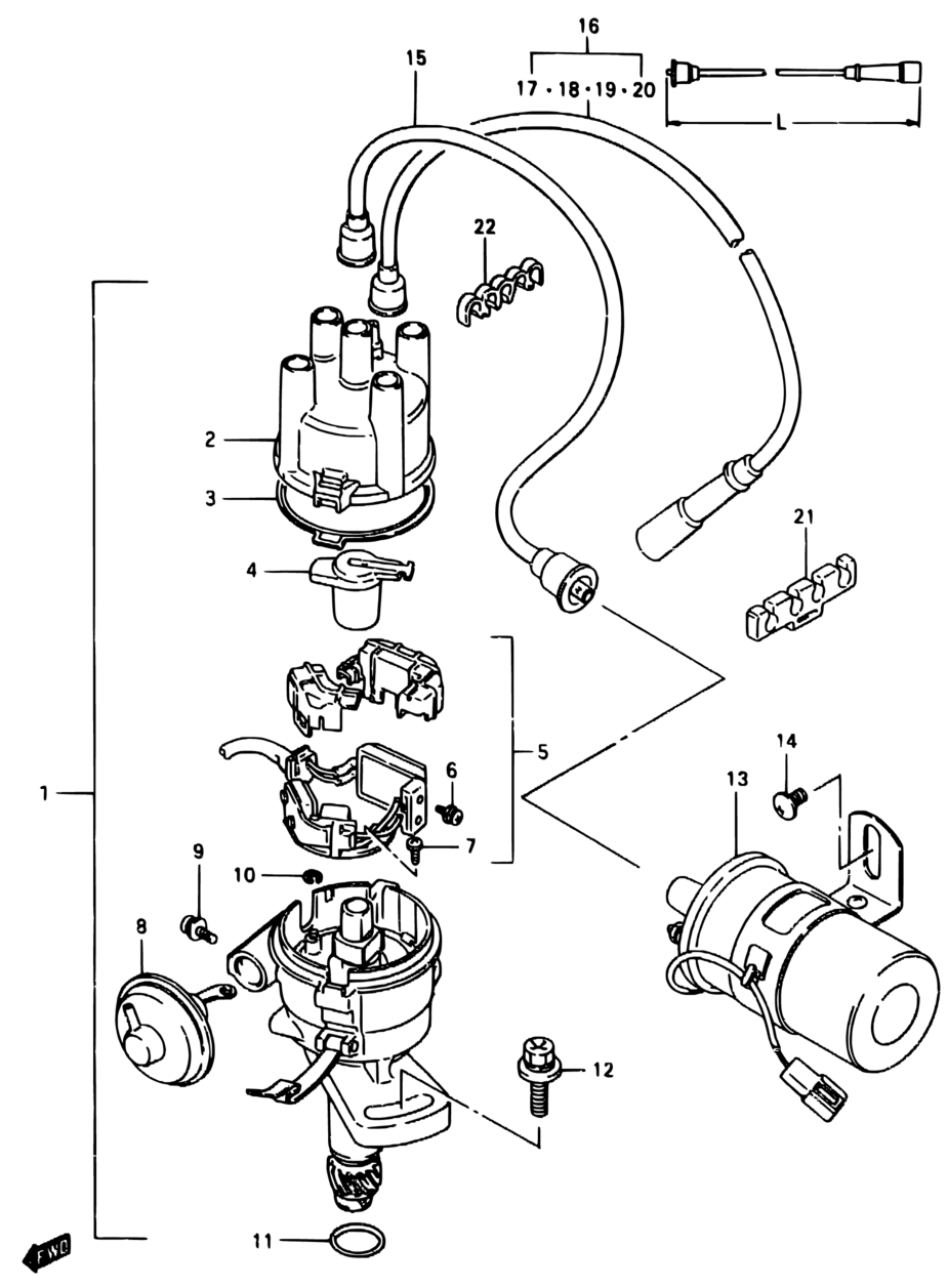 Asia Samurai Sj Sj413 9 Engine Electrical 51 Distributor W 1986 Suzuki Wiring Diagram Parts