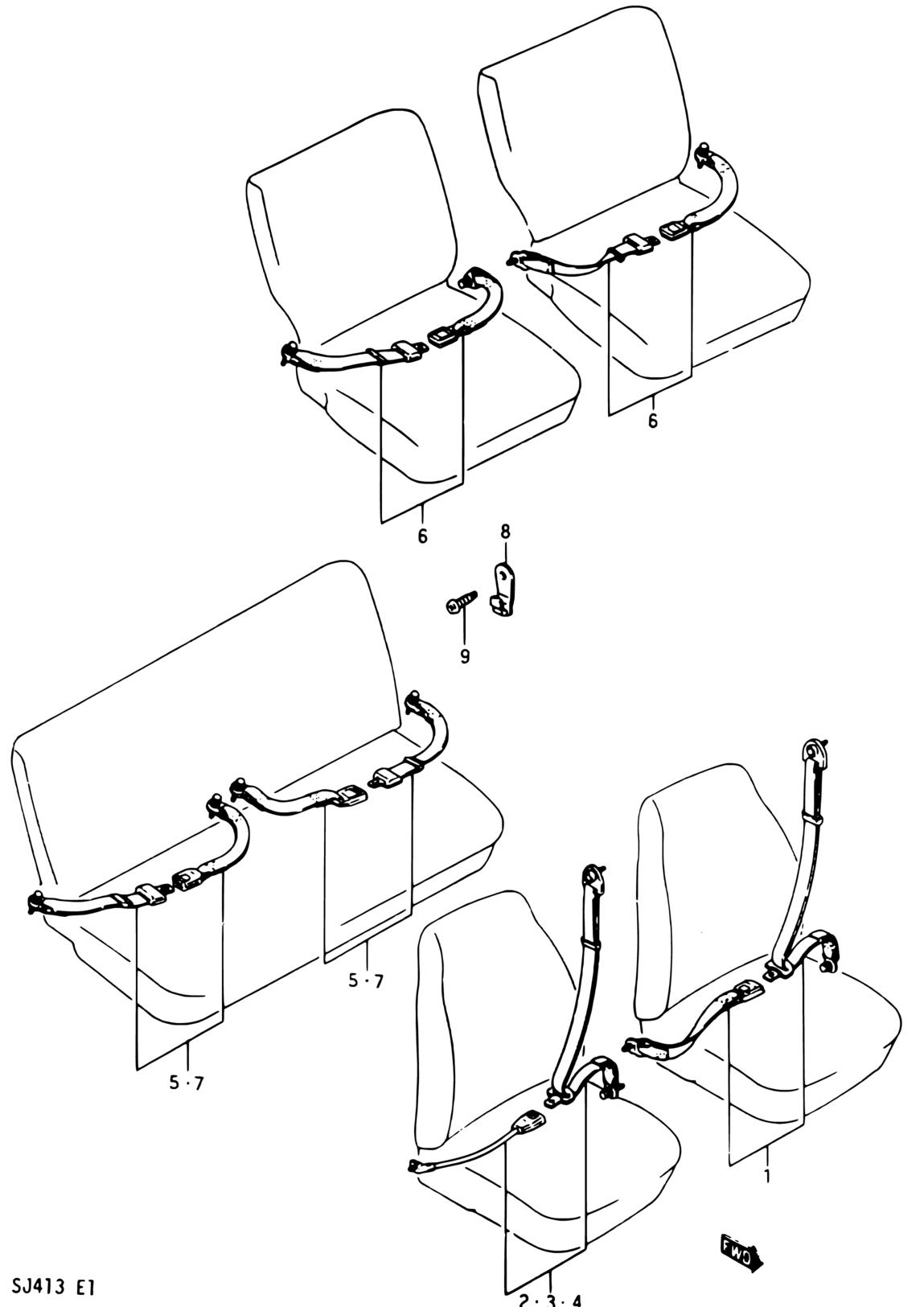 Asia Samurai Sj Sj413v E01 Interior Trim 181 Seat Belt O Type Wiring Diagram Code Part Number Name Additional Information Qty