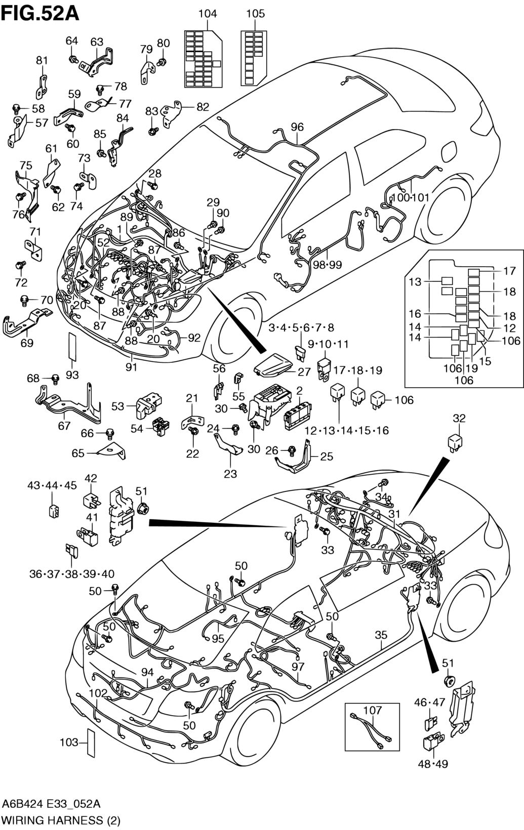 united states, kizashi, a6b424 (e03,e33:my 2013), electrical, 52a      parts  suzuki kizashi wiring harness box