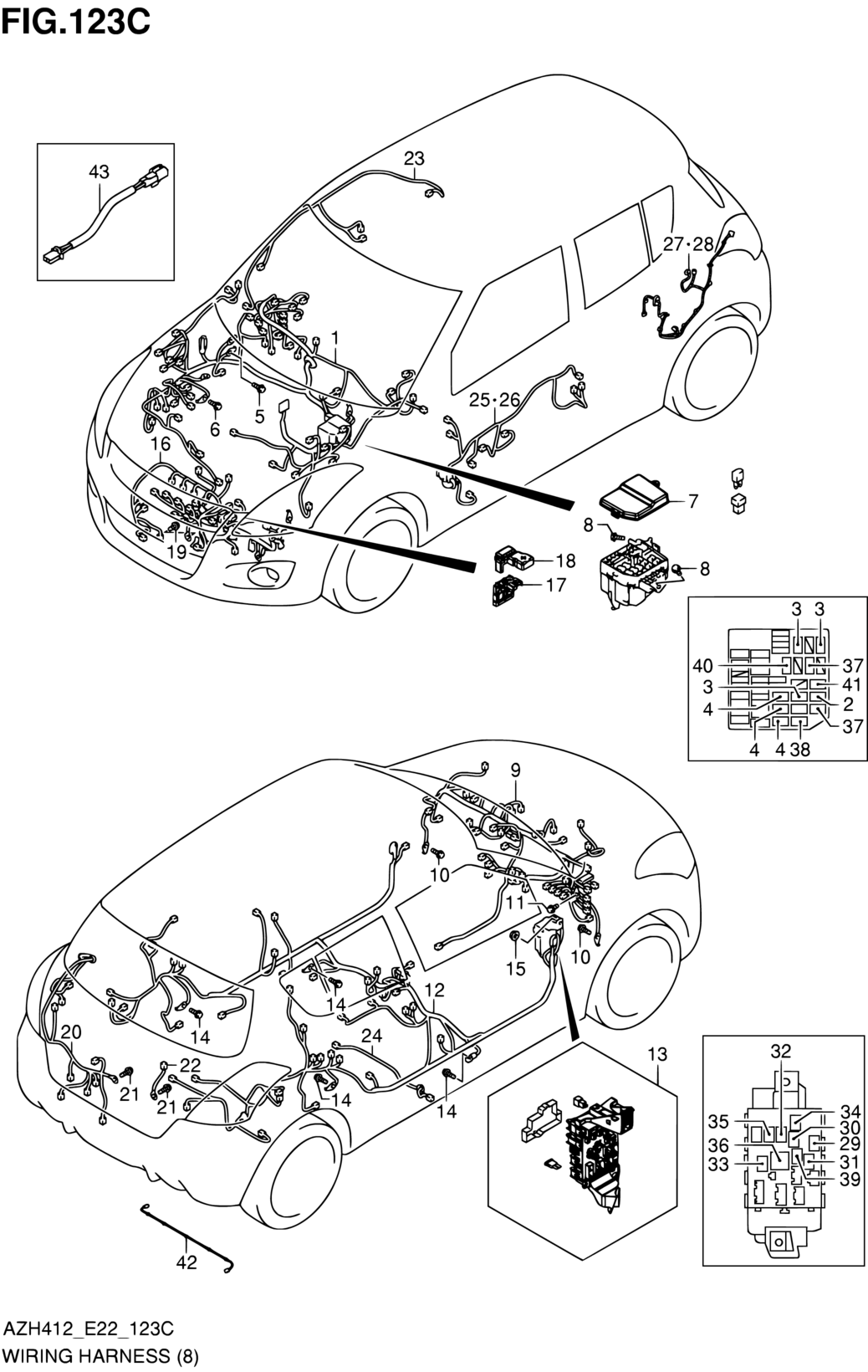 asia swift azh412 e22 e90 electrical 123c wiring harness Farmall Wiring Harness Diagram code part number name additional information qty