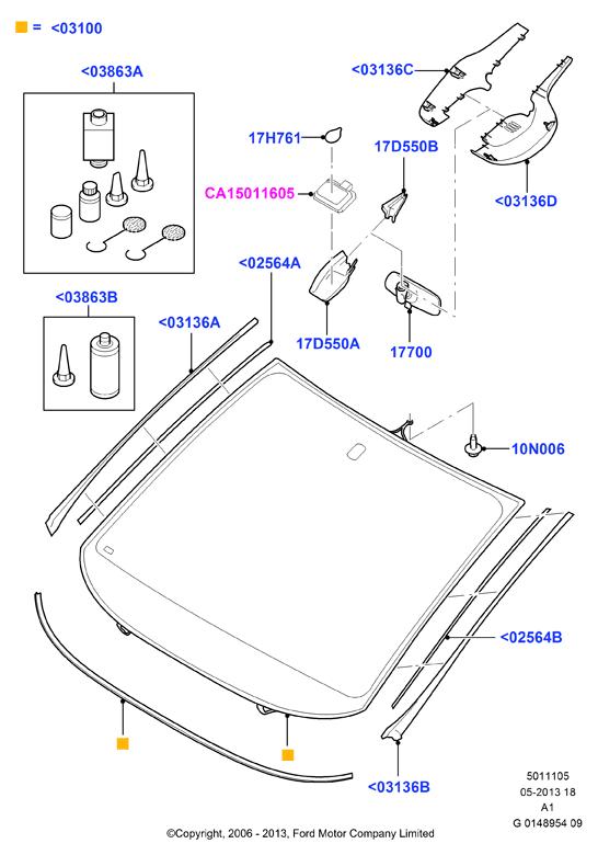 Original Baguette panneau gauche pour pare-brise FORD S-Max 1676181