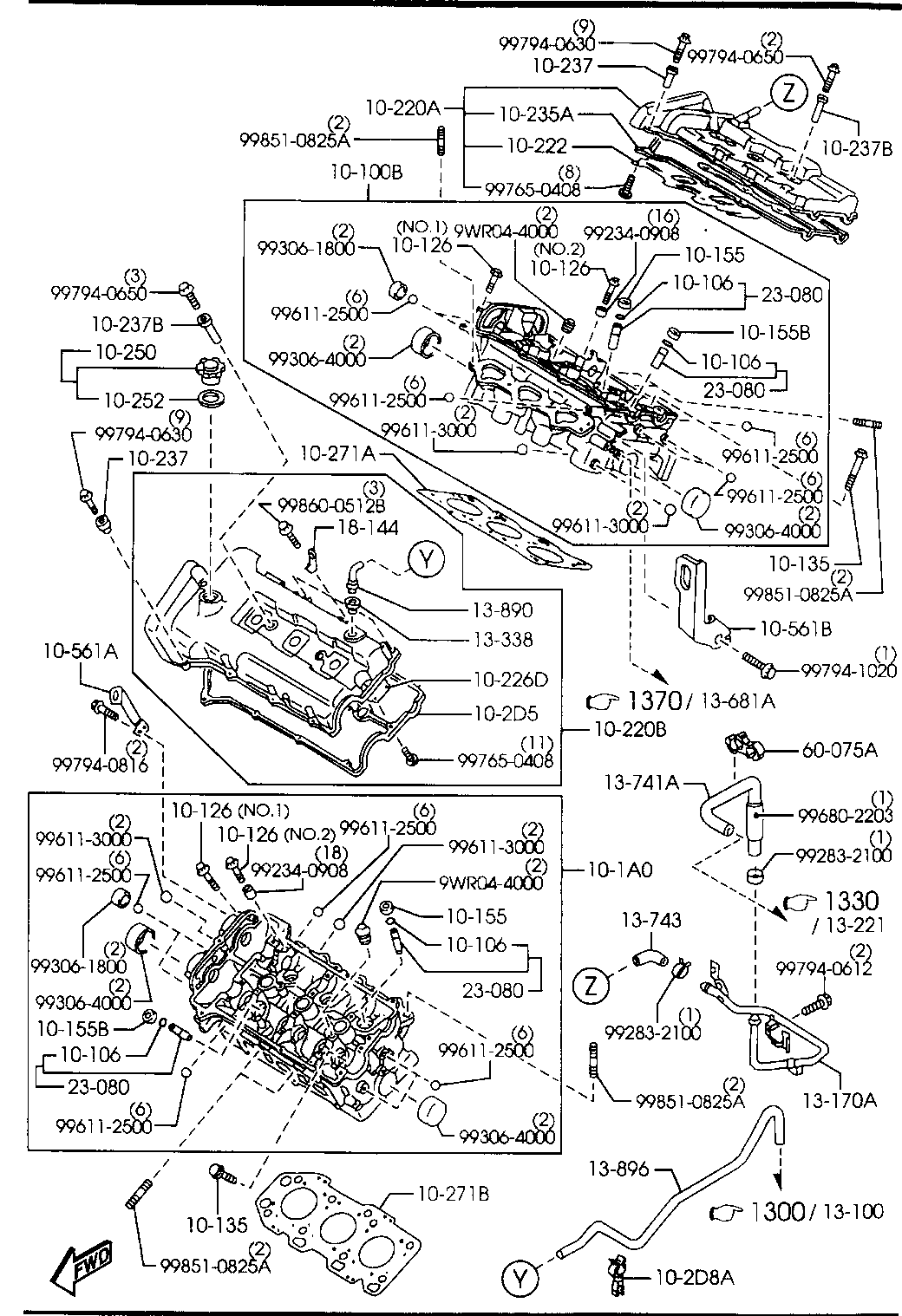 1999 Millenia Gasoline Engine V6 Cylinder Transmission 1010b Head Diagram