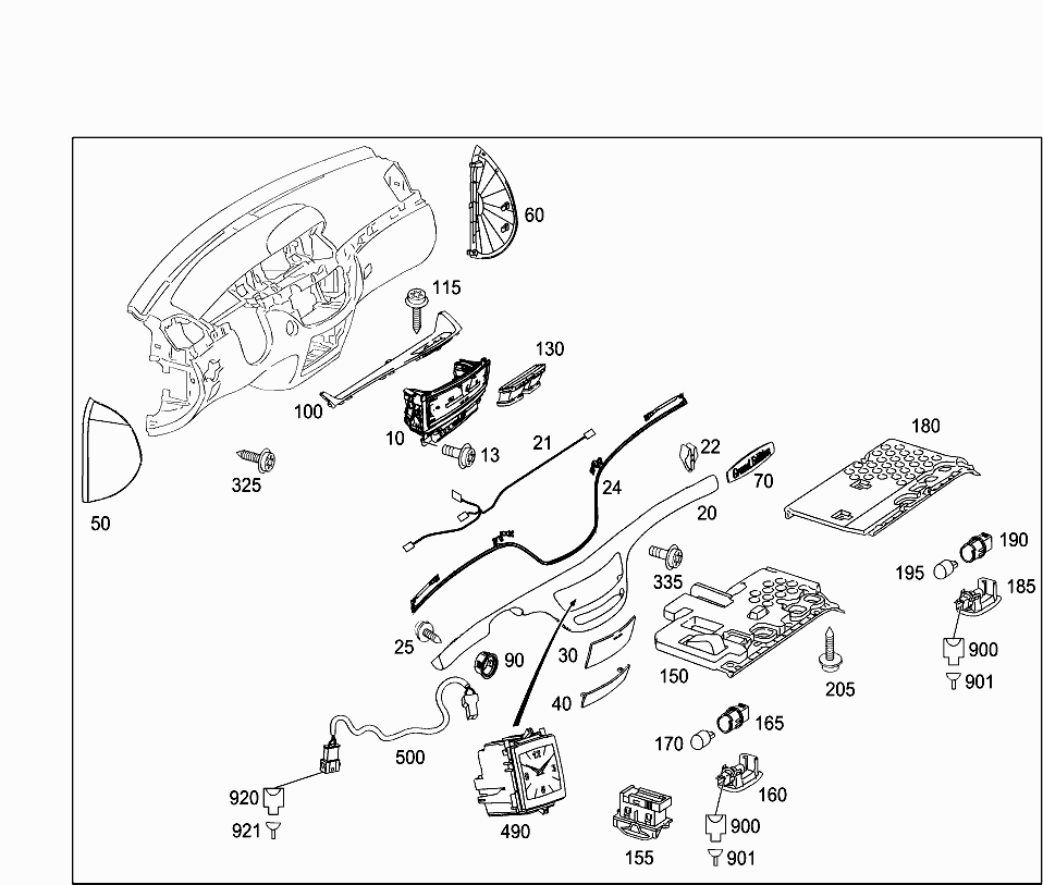 Car Europe 221 057 68 Panelling 205 Detachable Components