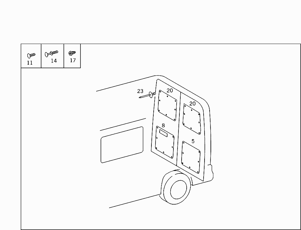 Van Europe 901 461 74 Rear Panel Door 150 Door Panelling