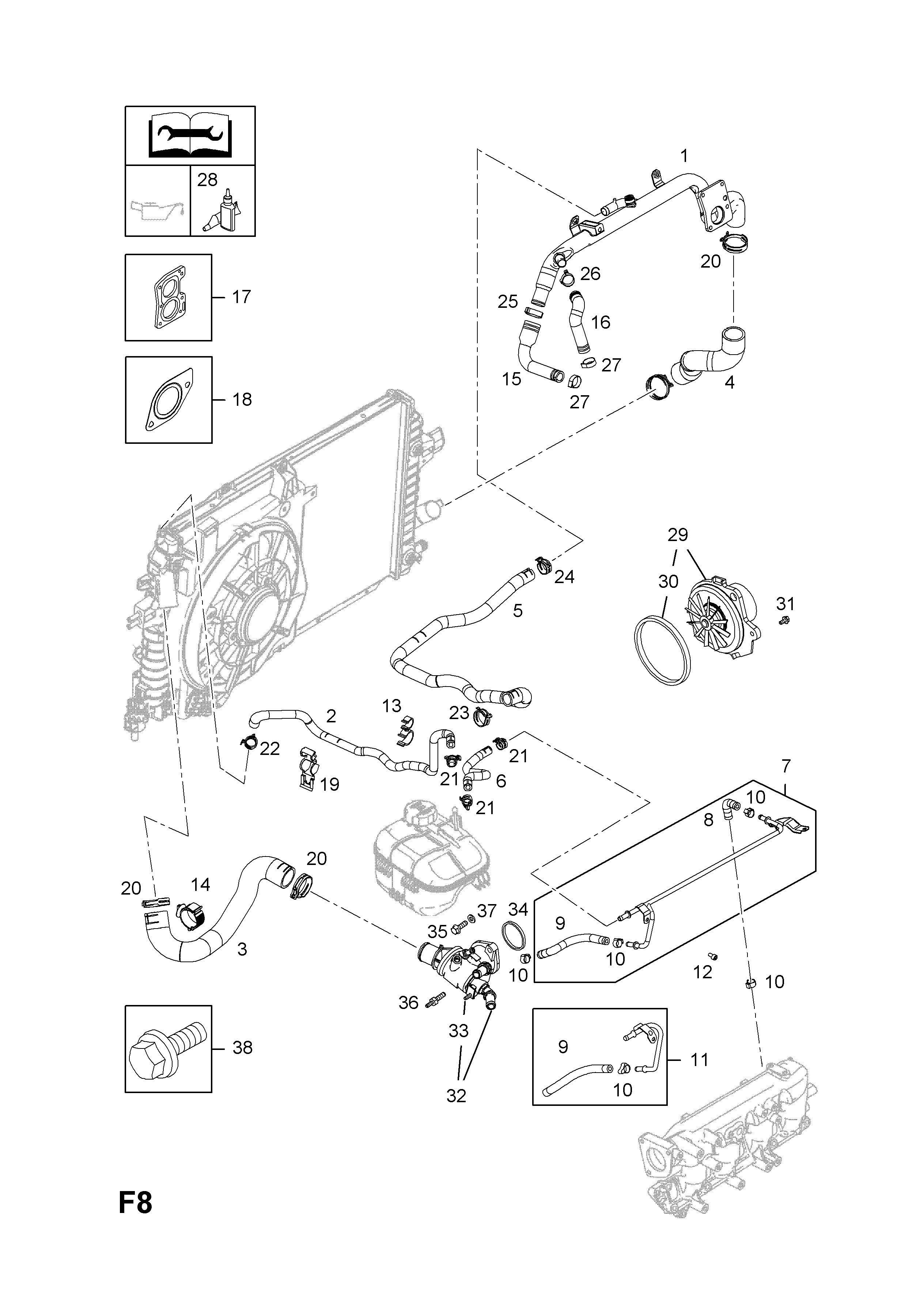 Opel Engine Cooling Diagram Zafira B 2005 F 29z19dtllppz19dtlpm List Of Parts