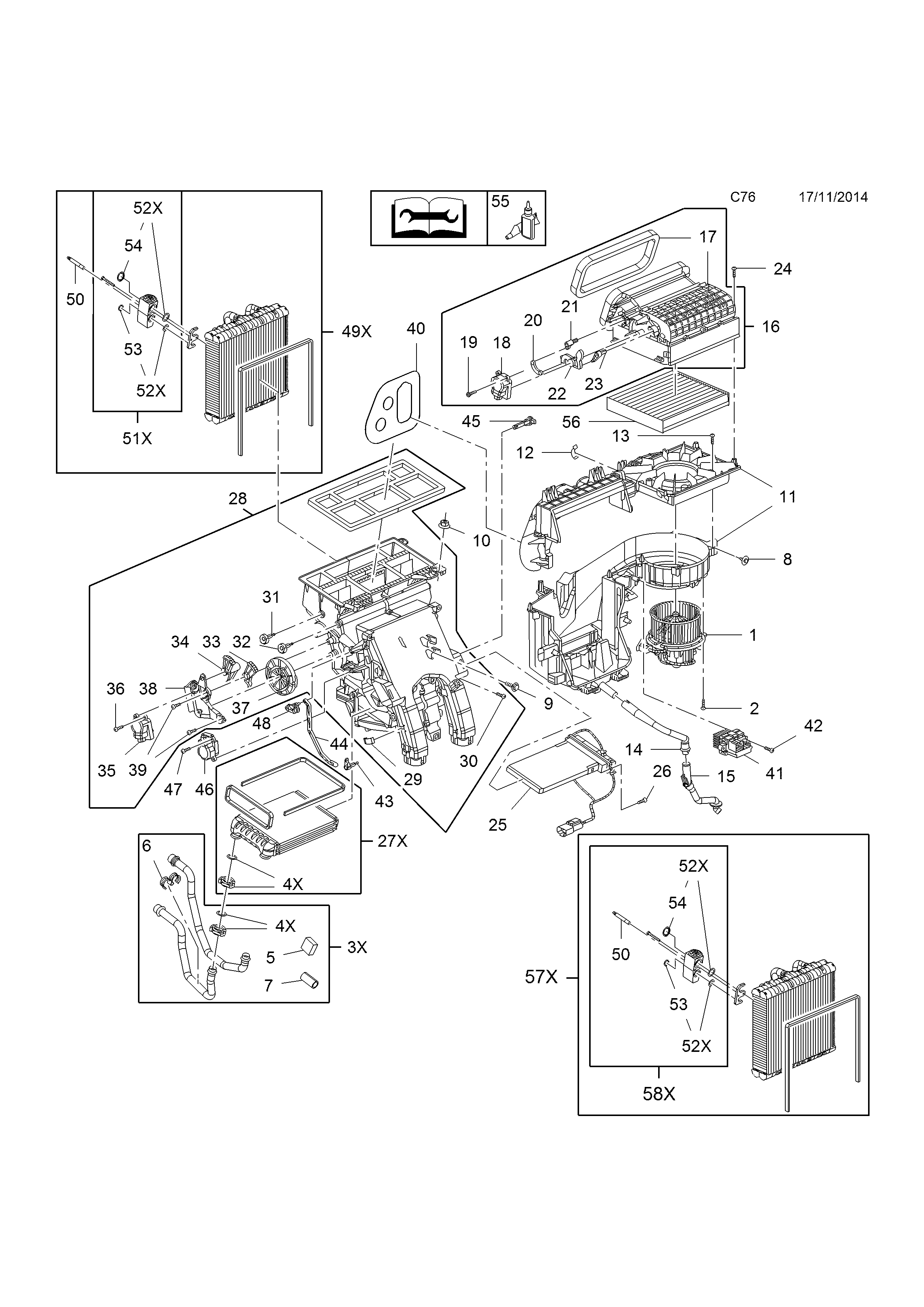 Vauxhall Zafira C 2012 Body Interior Fittings 6 Heater Air Conditioning Schematic 25 11 Gm Part Number Genuine Description Range