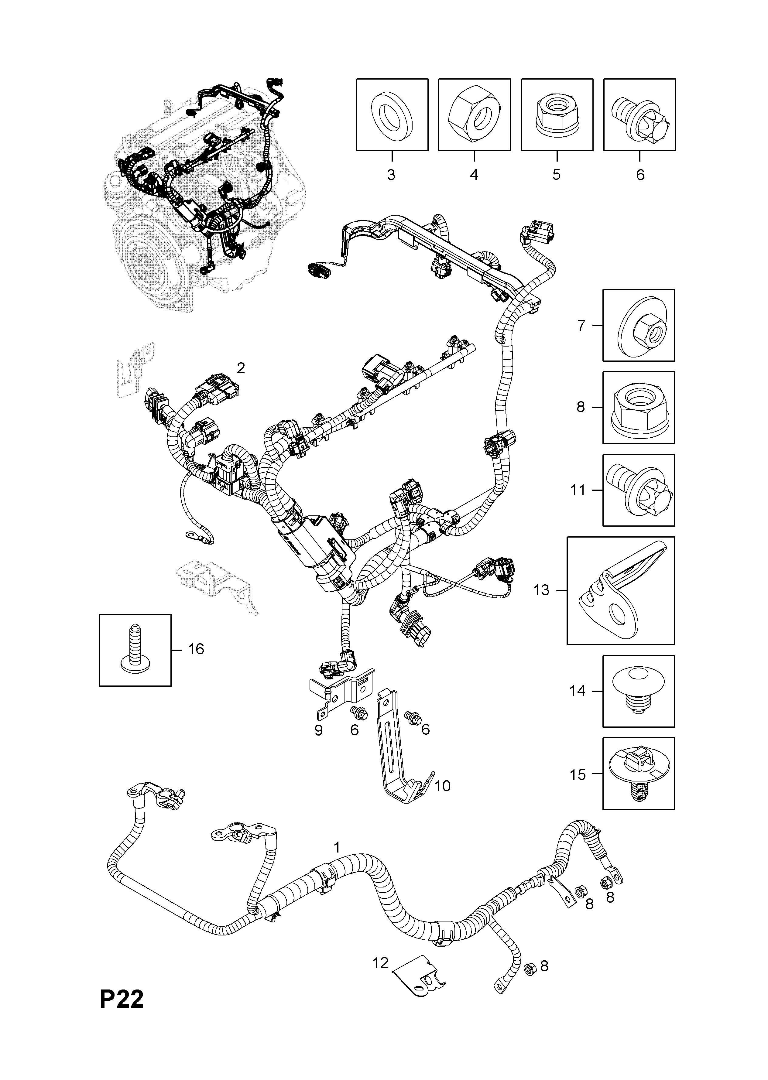 corsa d w0l0sdl0876011222 p electrical 9 wiring harness 12 engine rh catcar info engine wiring harness damage engine wiring harness definition