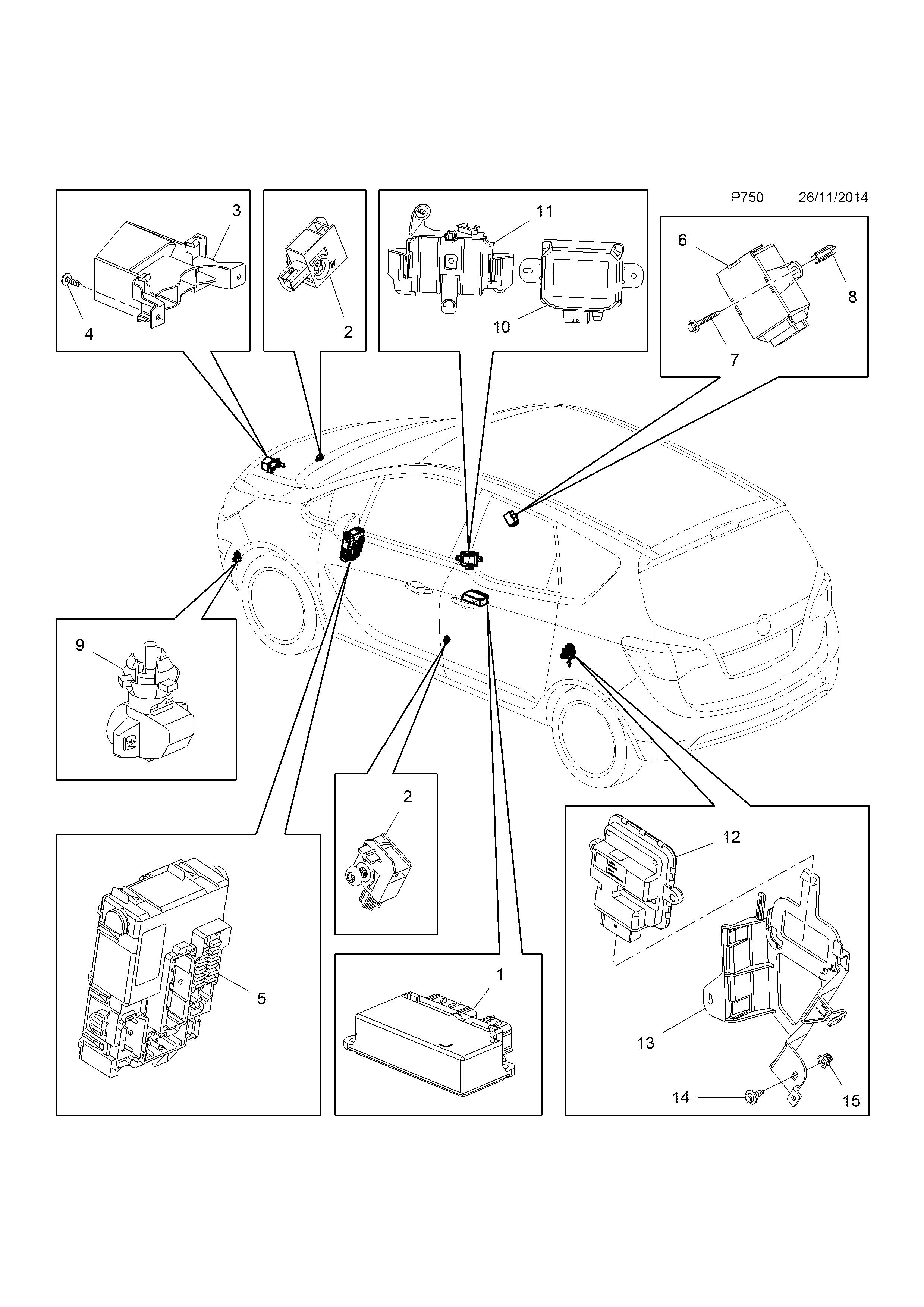 opel meriva b 2010 p electrical 11 body 15 b16dte lwq 2015 Opel Vectra list of parts