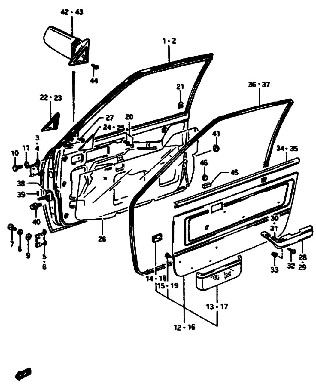 All Regions Forsa Sprint Swift Sa Sa413 Body 147 Front Suzuki Door Schematic Parts