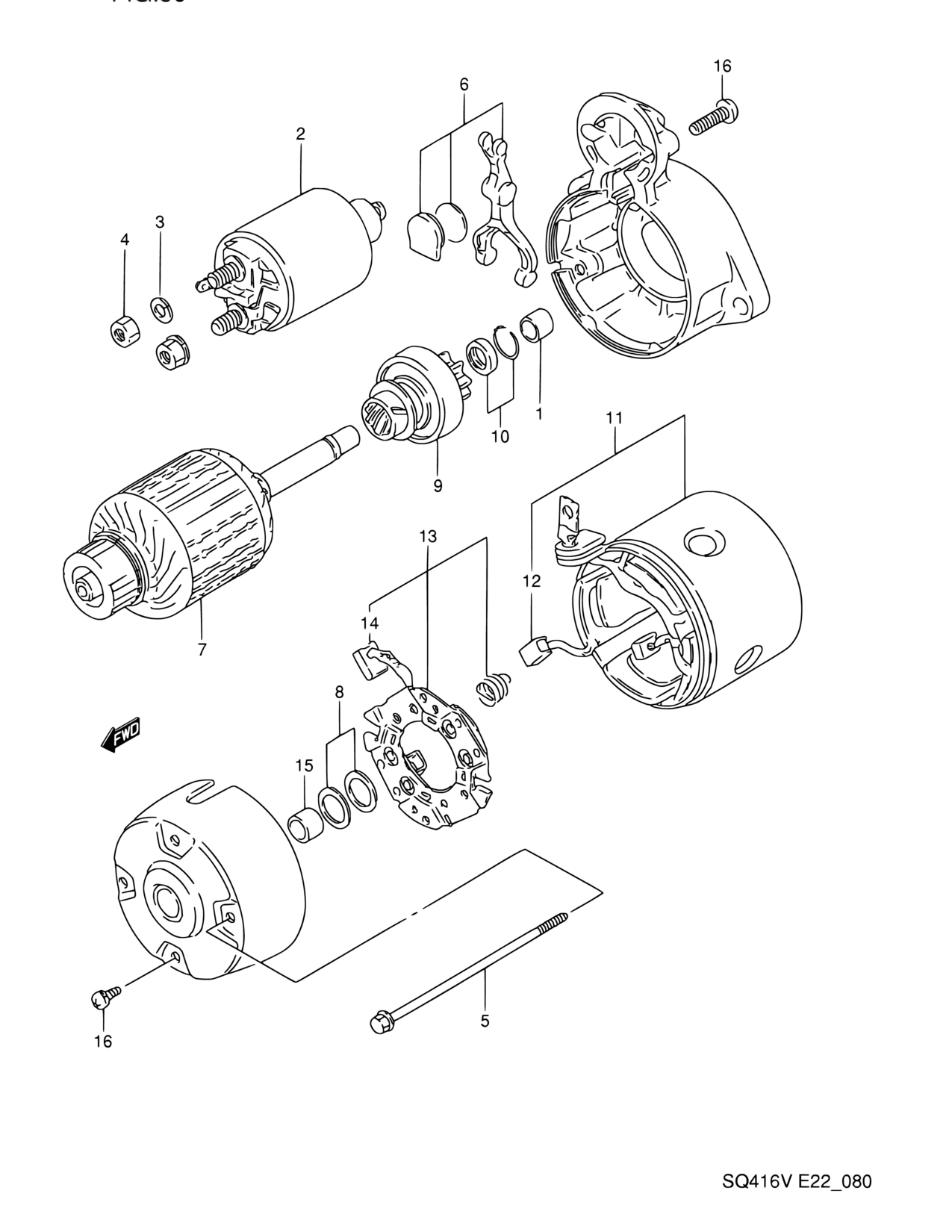 Africa Grand Vitara Sq420v Engine Electrical 80 Starting Motor Wire Diagrams Name Plate Code Part Number Additional Information Qty