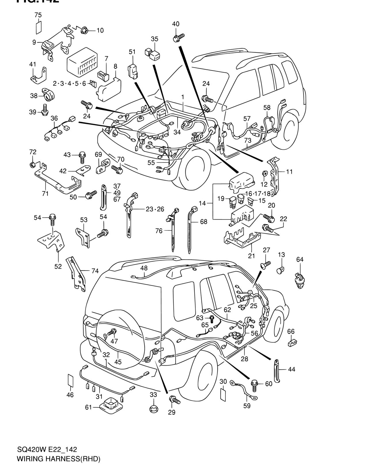 Africa Grand Vitara Sq625w Gvitara Electrical 142 Wiring Suzuki Diagram Parts