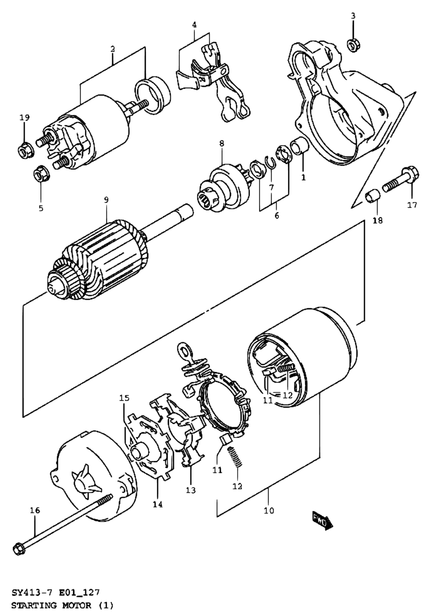 Pacific Baleno Esteem Sy418 7 Engine Electrical 127 Starting Wire Diagrams Motor Name Plate Code Part Number Additional Information Qty