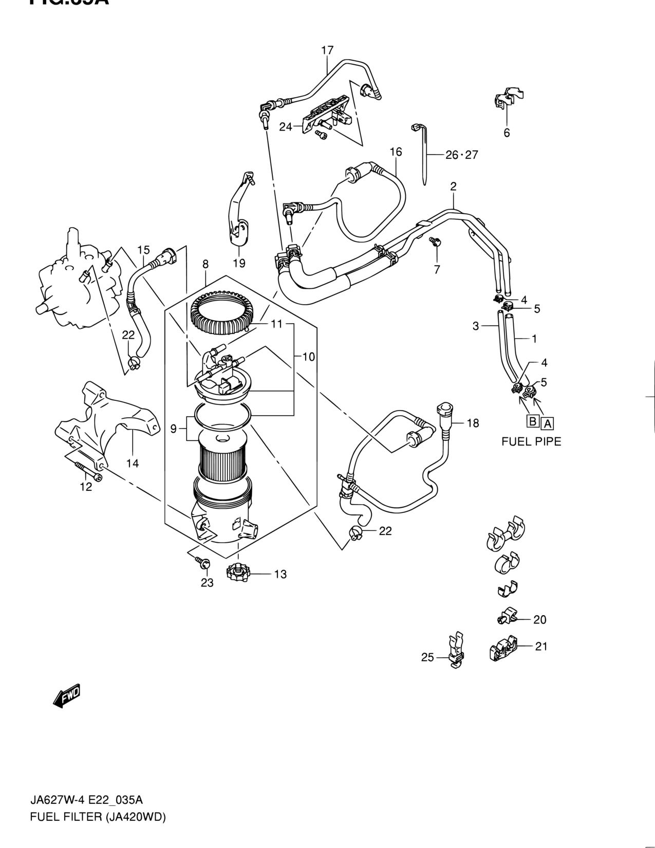 pacific, grand vitara xl-7, ja627w-4, fuel, 35a - fuel filter